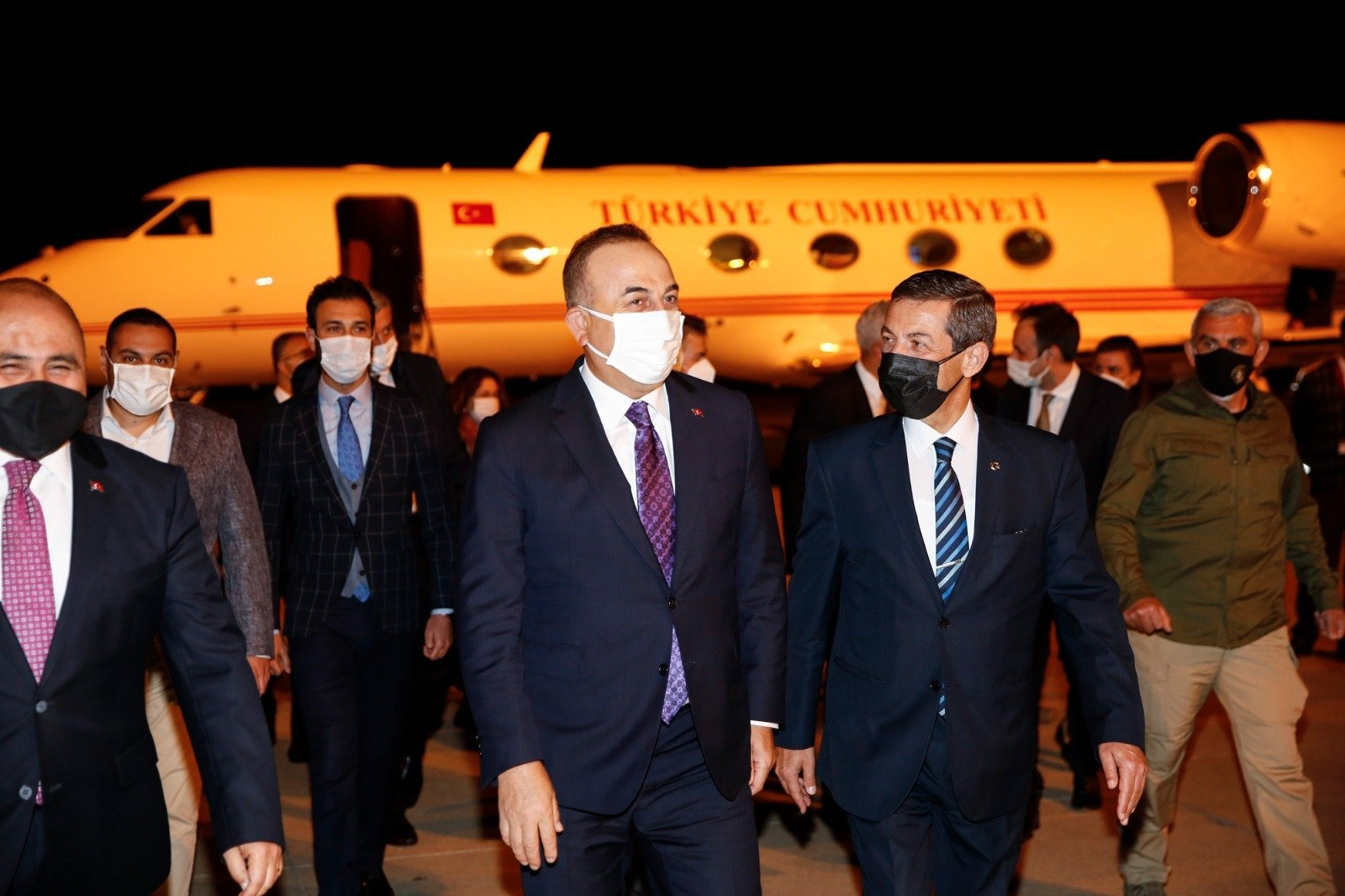 Foreign Minister Mevlüt Çavuşoğlu arrived in the Turkish Republic of Northern Cyprus, April 15, 2021 (AA Photo)