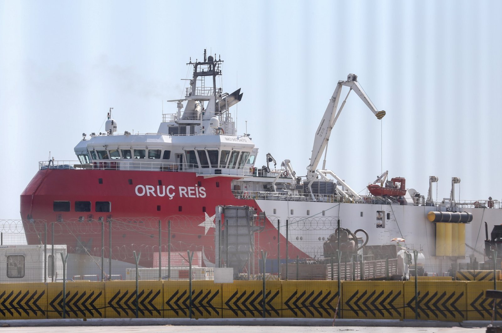 Turkey's seismic research vessel Oruç Reis at the port of Antalya for restocking and maintenance, Sept. 16, 2020. (AA Photo)