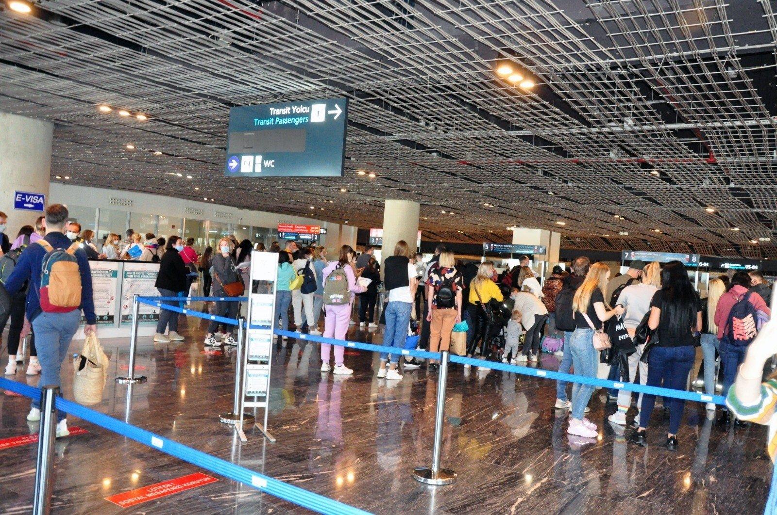 Russian tourists arrive at Milas-Bodrum Airport, Bodrum, southwestern Turkey, April 11, 2021. (IHA Photo)