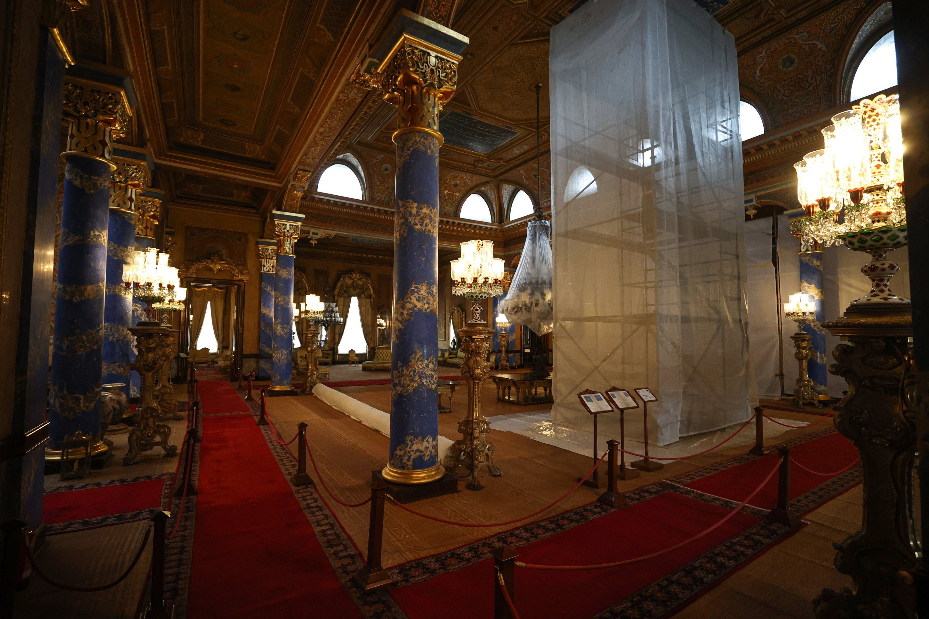 A view from the restoration of the Blue Hall at the Beylerbeyi Palace, Istanbul, Turkey, April 16, 2021. (AA Photo)