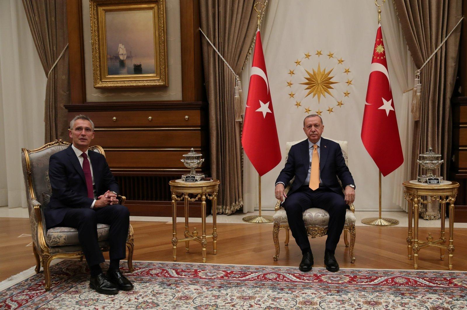 President Tayyip Erdoğan meets with NATO Secretary-General Jens Stoltenberg in Ankara, Turkey, Oct. 5, 2020. (Reuters Photo)