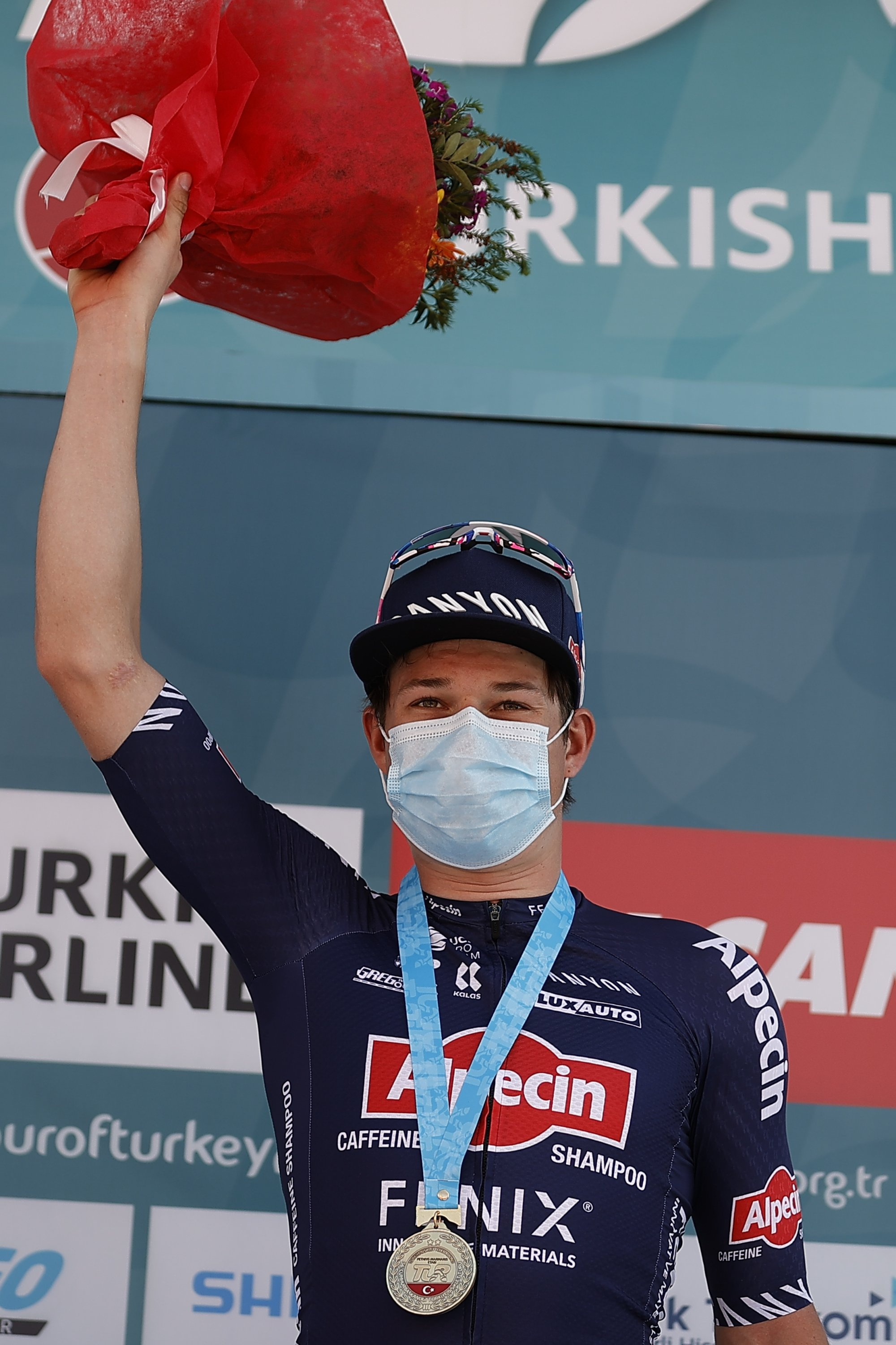 Belgium's Jasper Philipsen (L) after winning the sixth stage of the 56th Presidential Cycling Tour of Turkey, Marmaris, southern Turkey, April 16, 2021. (AA Photo)