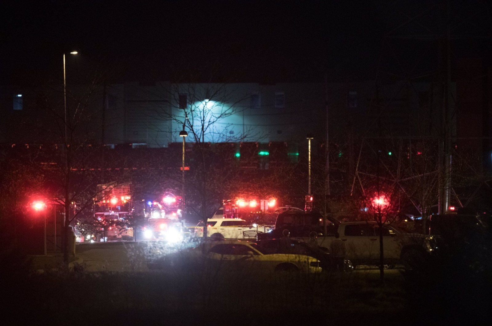 The scene outside a FedEx facility where multiple people were reportedly shot in Indianapolis, Indiana, U.S., April 15, 2021. (Reuters Photo)