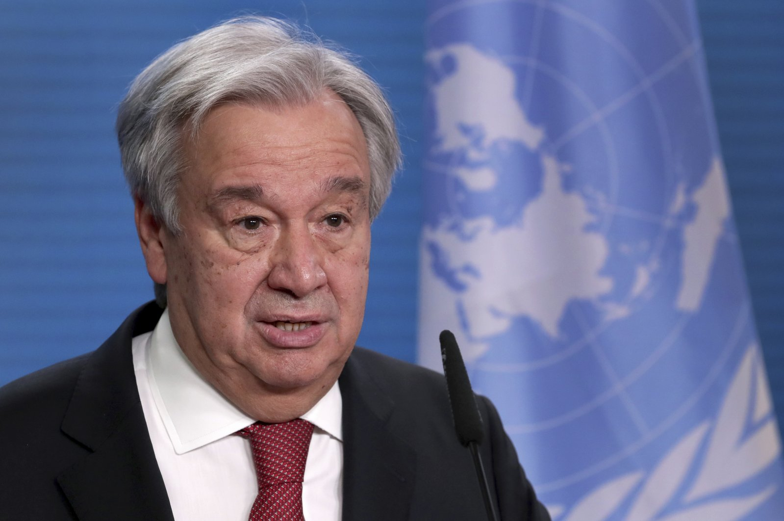 U.N. Secretary-General Antonio Guterres addresses the media during a joint press conference in Berlin, Germany, Dec. 17, 2020. (AP Photo)