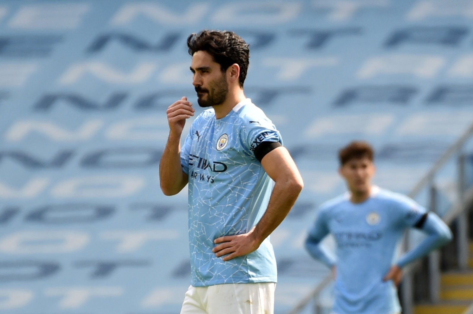 Manchester City's İlkay Gündoğan reacts during a Premier League match against Leeds United, Etihad Stadium, Manchester, Britain, April 10, 2021.