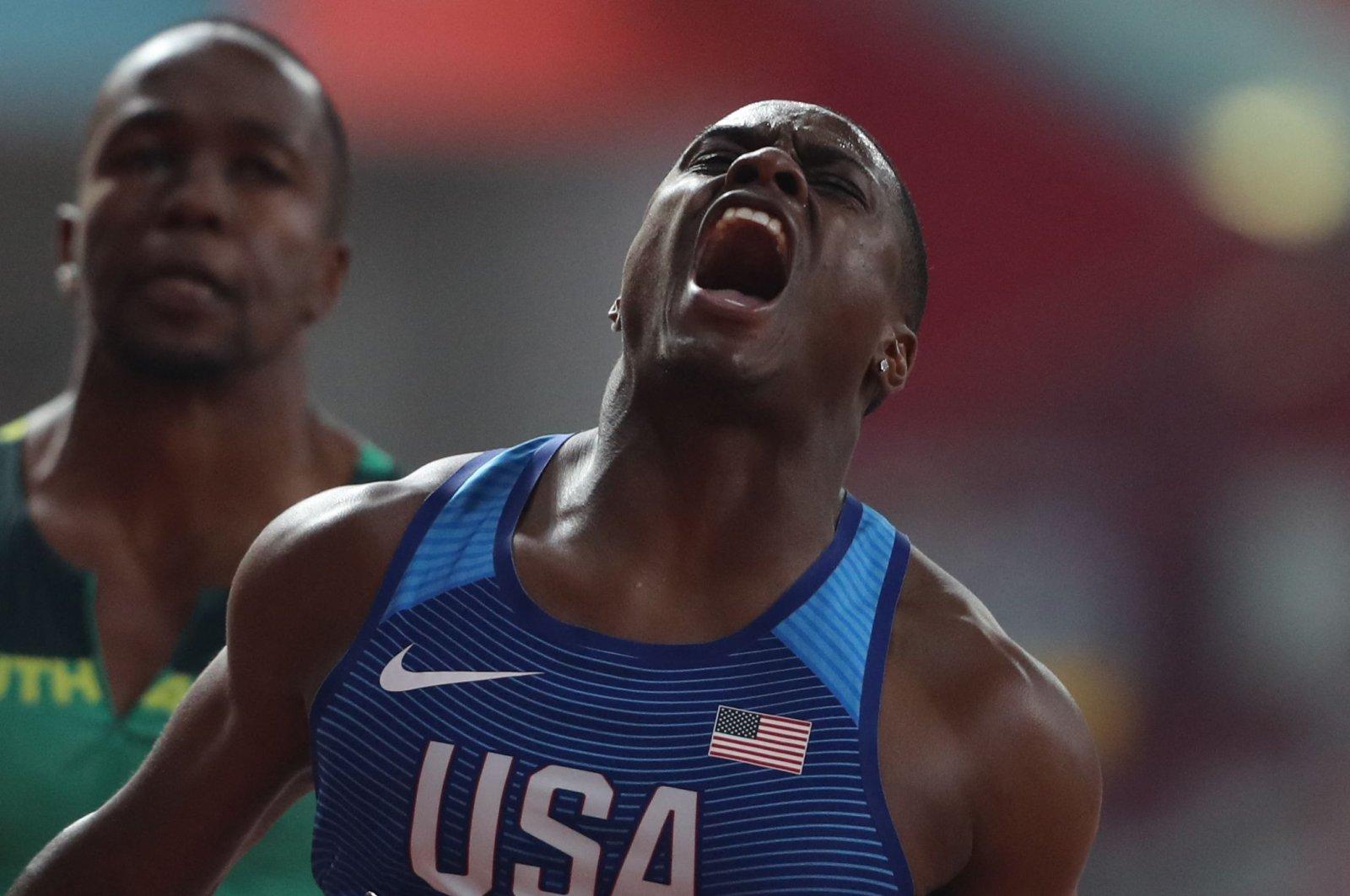 USA's Christian Coleman reacts as he wins the Men's 100-meter final at the 2019 IAAF World Athletics Championships at the Khalifa International Stadium, Doha, Qatar,Sept. 28, 2019. (AFP Photo)
