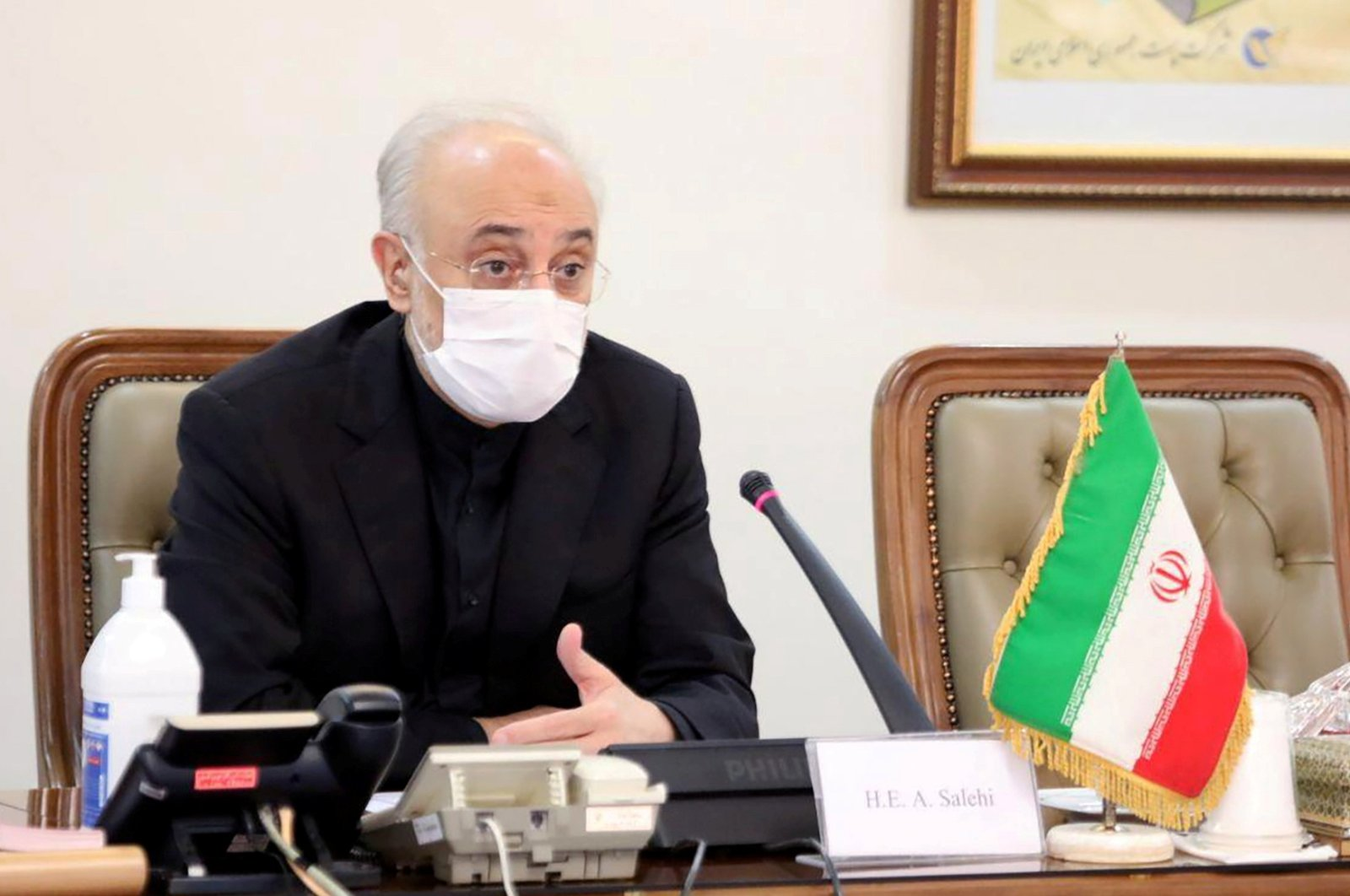 Head of Iran's Atomic Energy Organization Ali-Akbar Salehi wears a mask as he speaks during a meeting with International Atomic Energy Agency (IAEA) Director General Rafael Grossi, in Tehran, Iran, August 25, 2020. (Reuters Photo)