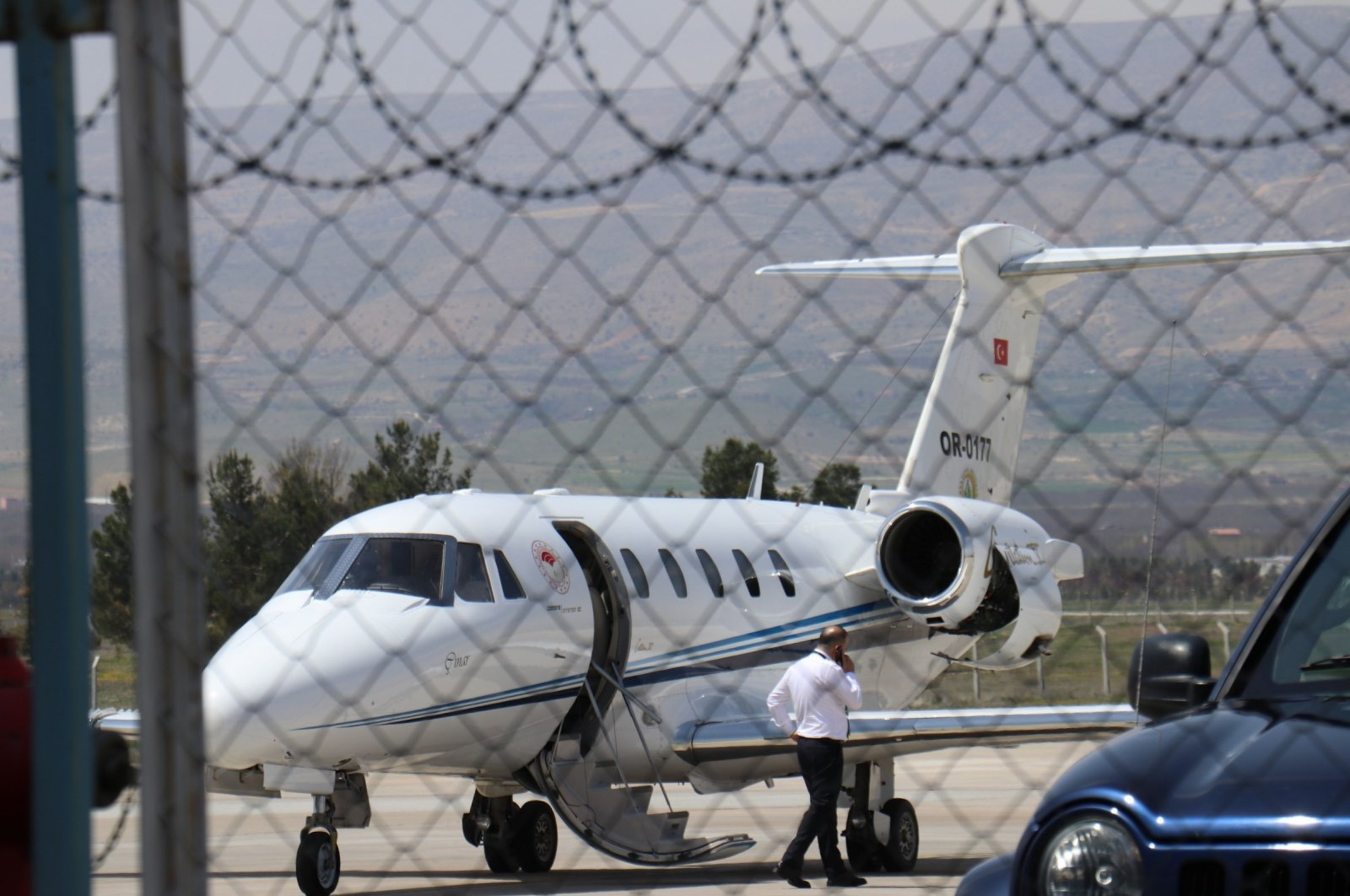 A view of the plane at Erhaç Airport, in Malatya, eastern Turkey, April 16, 2021. (IHA Photo)