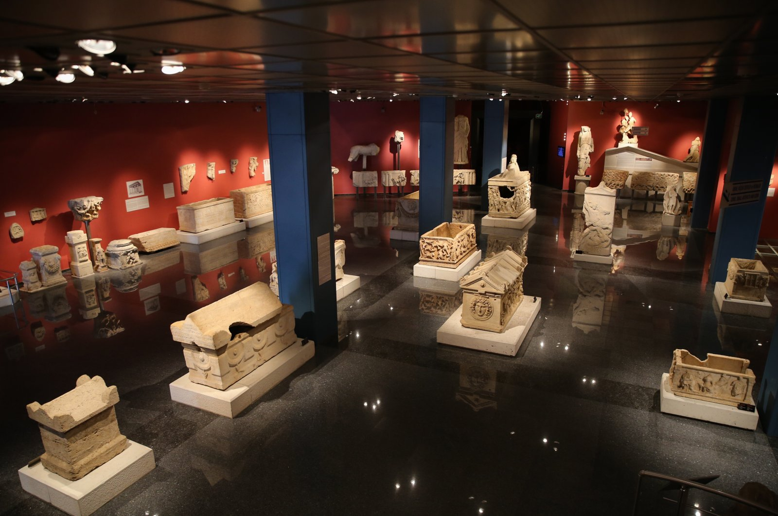 Sarcophagi from different periods are seen in the Antalya Museum, Antalya, southern Turkey, April 16, 2021. (AA Photo)