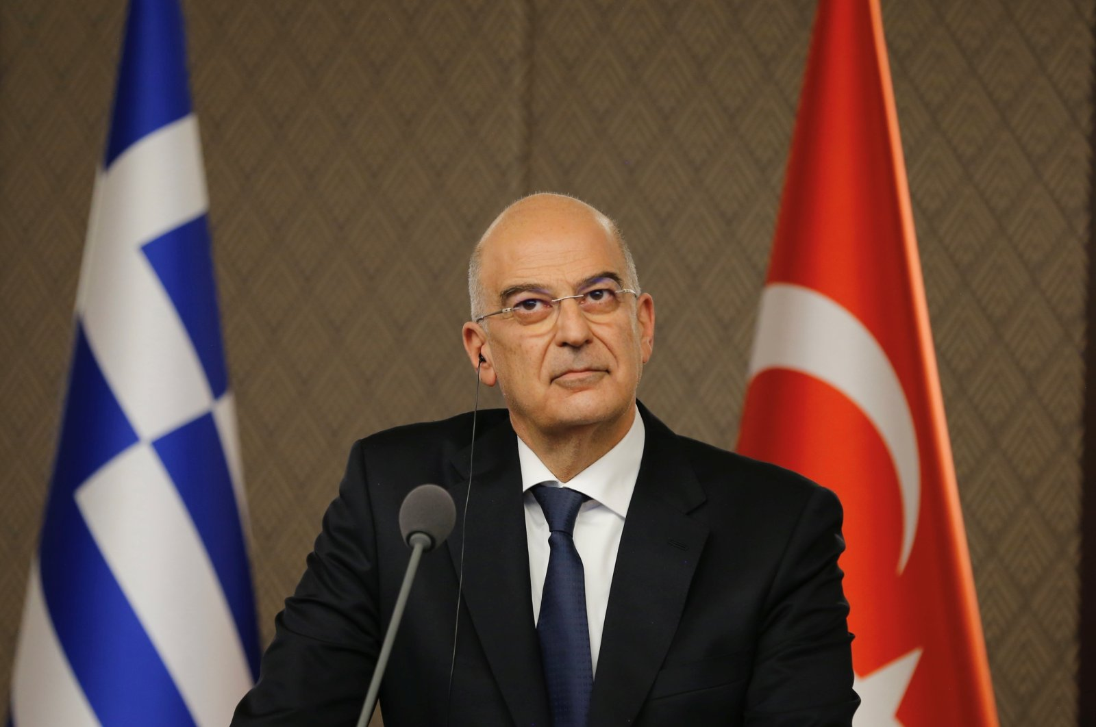 Greek Foreign Minister Nikos Dendias looks on during a news conference with his Turkish counterpart Mevlüt Çavuşoğlu (not pictured), Ankara, Turkey April 15, 2021. (Turkish Foreign Ministry Handout via REUTERS)