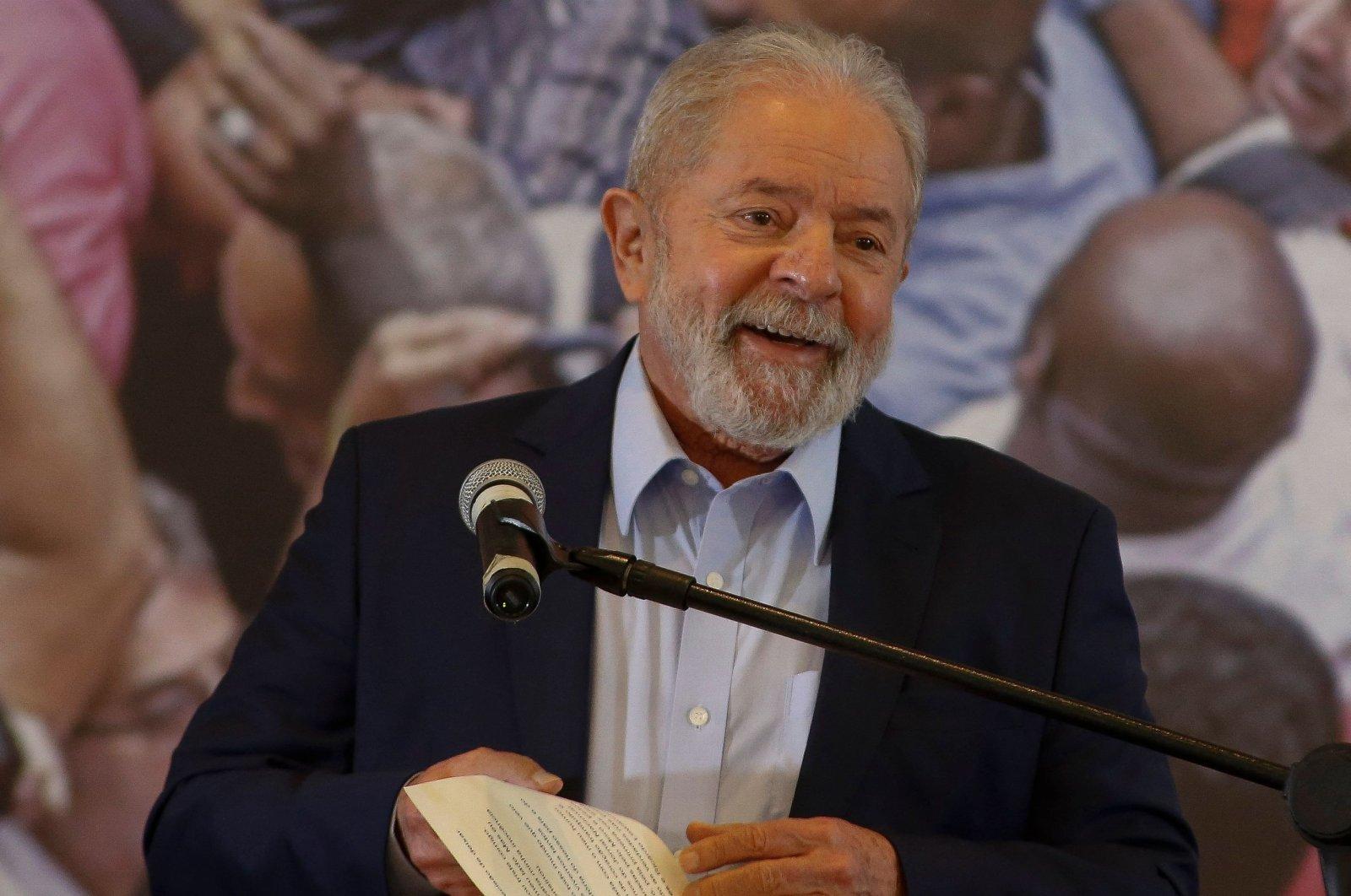 Brazilian former president (2003-2011) Luiz Inacio Lula da Silva, delivers a press conference at the metalworkers' union building in Sao Bernardo do Campo, in metropolitan Sao Paulo, Brazil, March 10, 2021. (AFP Photo)