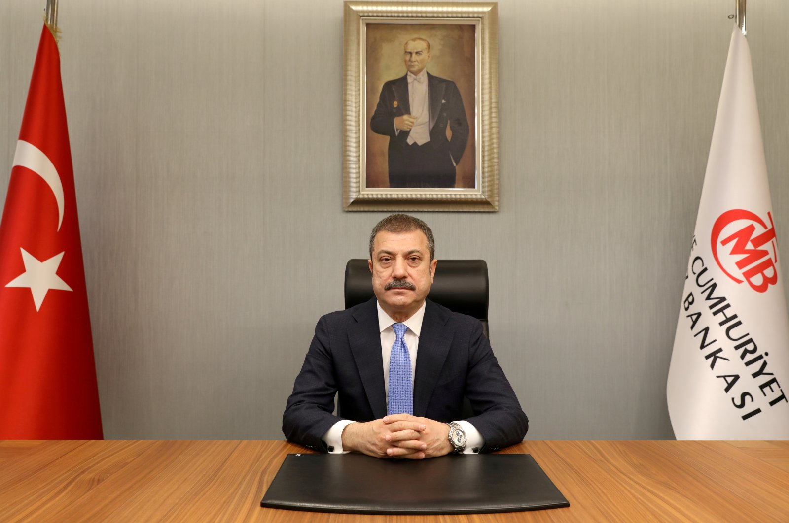 Central Bank of the Republic of Turkey (CBRT) Governor Şahap Kavcıoğlu sits at his office in the capital Ankara, Turkey, March 21, 2021. (CBRT via Reuters)