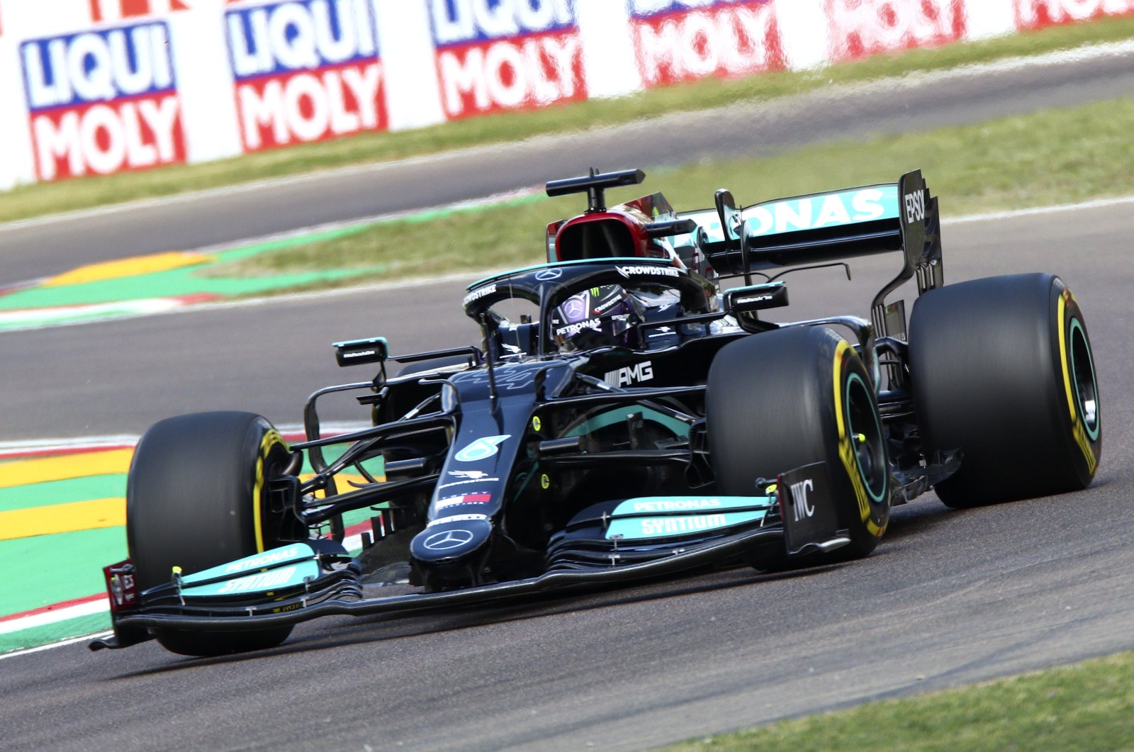 British Formula One driver Lewis Hamilton of Mercedes-AMG Petronas in action during the second practice session of the Formula One Grand Prix Emilia Romagna at Imola race track, Italy, April 16, 2021. (EPA Photo)