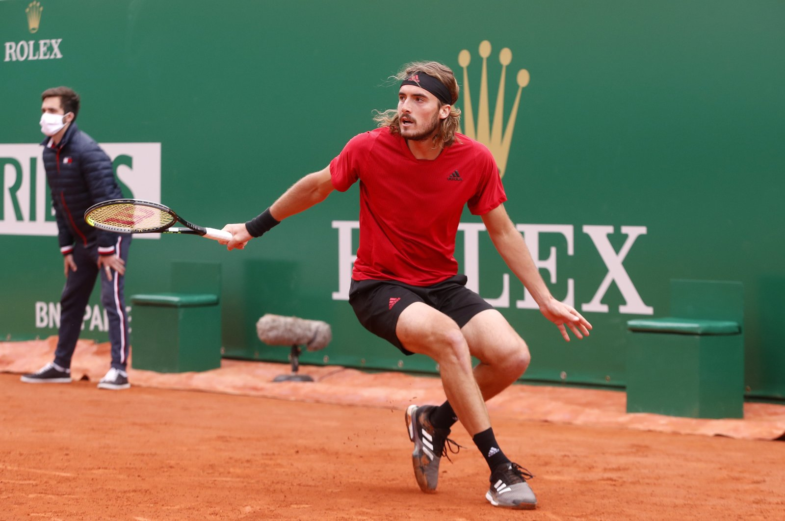 Greece's Stefanos Tsitsipas in action during his quarterfinal match against Spain's Alejandro Davidovich Fokina at the Monte Carlo Masters, Roquebrune Cap Martin, France, April 16, 2021. (EPA Photo)