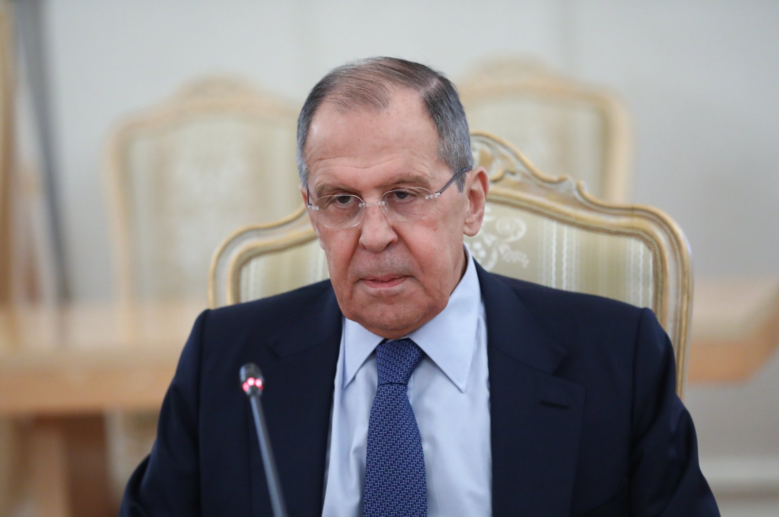 Russian Foreign Minister Sergei Lavrov during talks with Serbian Foreign Minister Nikola Selakovic (not pictured) in Moscow, Russia, 16 April 2021. (Russian Foreign Ministry handout photo via EPA)