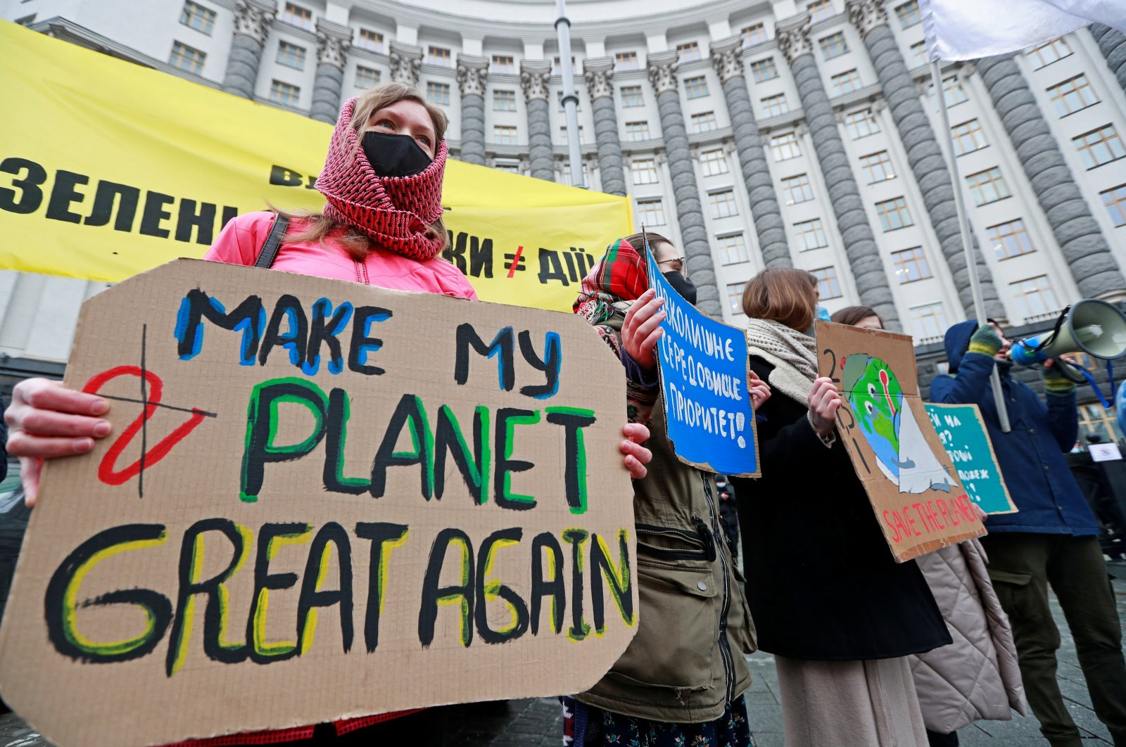 Ukrainian activists take part in a rally demanding action on climate change in Kyiv, Ukraine, March 19, 2021. (Reuters Photo)