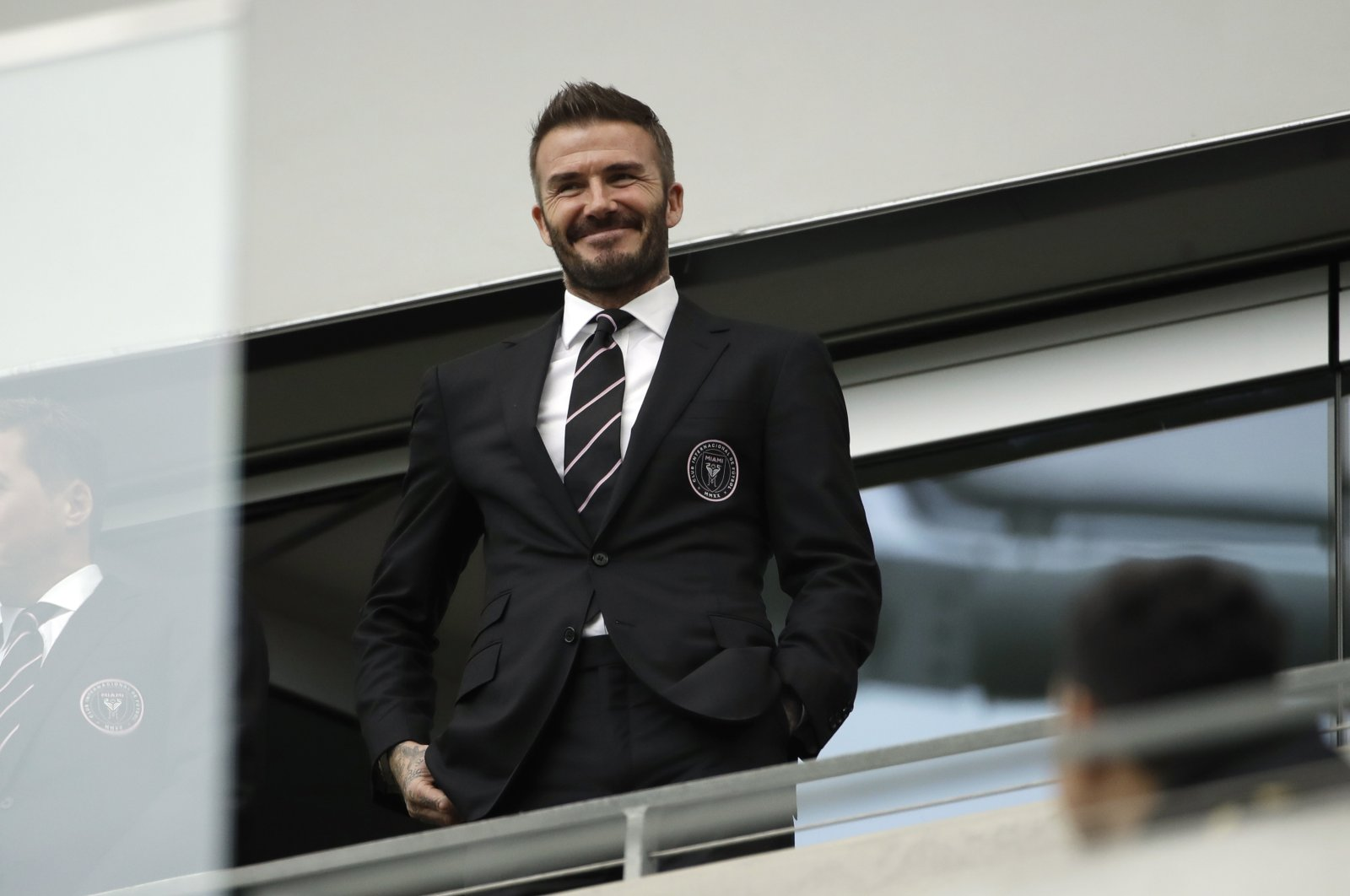 David Beckham looks on from the stands before an MLS match between Los Angeles FC and Inter Miami CF in Los Angeles, U.S., March 1, 2020. (AP Photo)