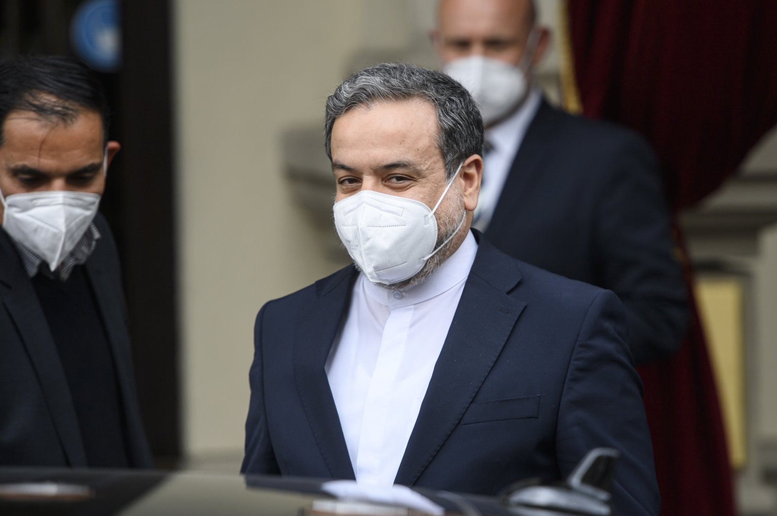 Iranian Deputy Foreign Minister Abbas Araghchi leaves a hotel after bilateral meetings for the Joint Comprehensive Plan of Action's (JCPOA) meeting in Vienna, Austria, April 16, 2021. (EPA Photo)