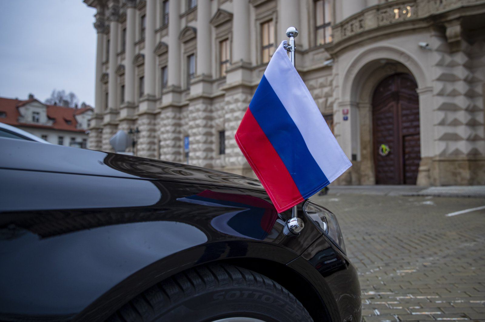 A car of the Russian ambassador to the Czech Republic sits in front of the Czech Foreign Ministry in Prague, the Czech Republic, April 17, 2021. (EPA Photo)