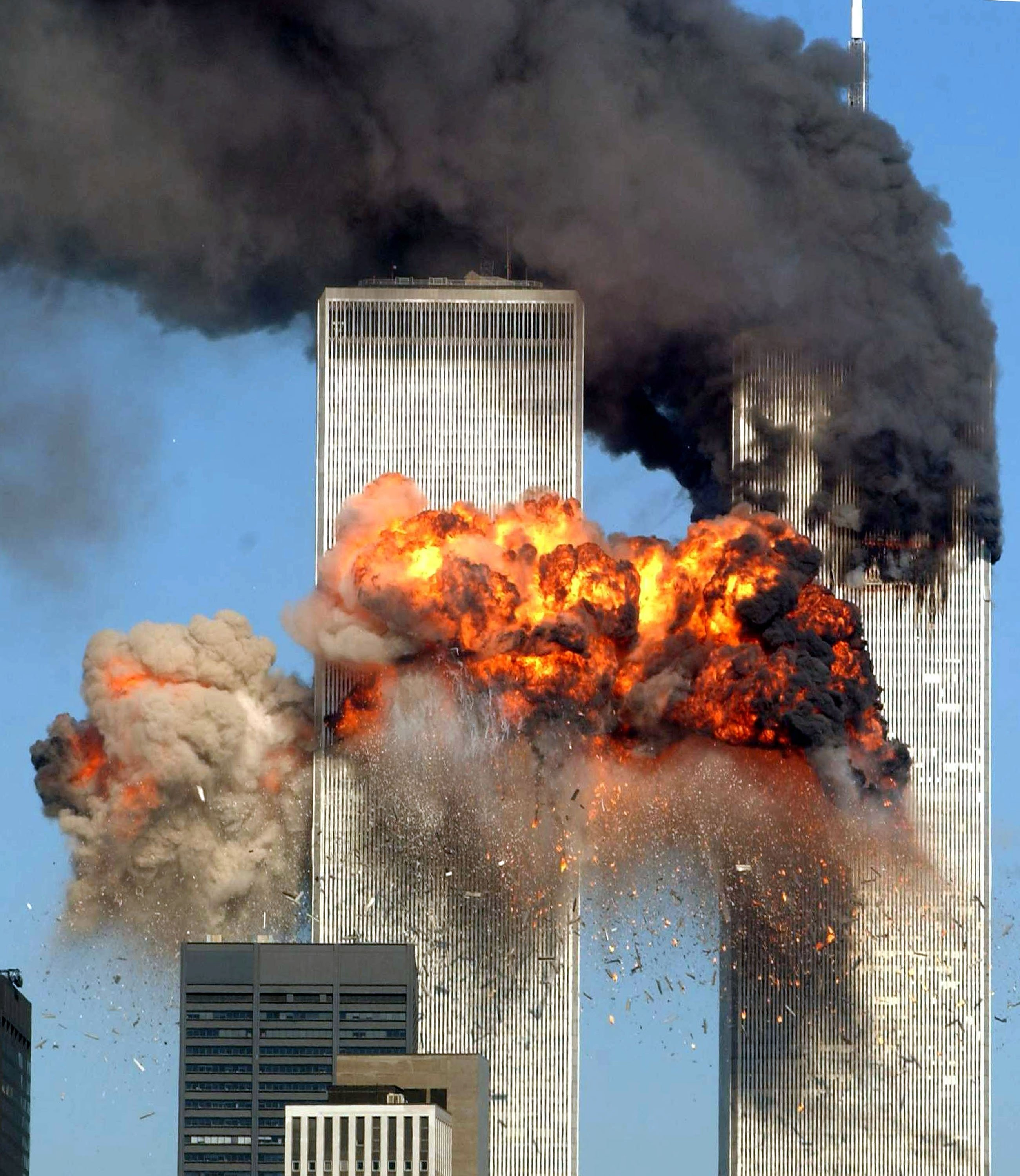 Hijacked by terrorists loyal to al-Qaida leader Osama bin Laden, the U.S. Flight 175 from Boston crashes into the south tower of the World Trade Center and explodes at 9:03 a.m., in New York City, U.S., Sept. 11, 2001. (Photo by Getty Images)