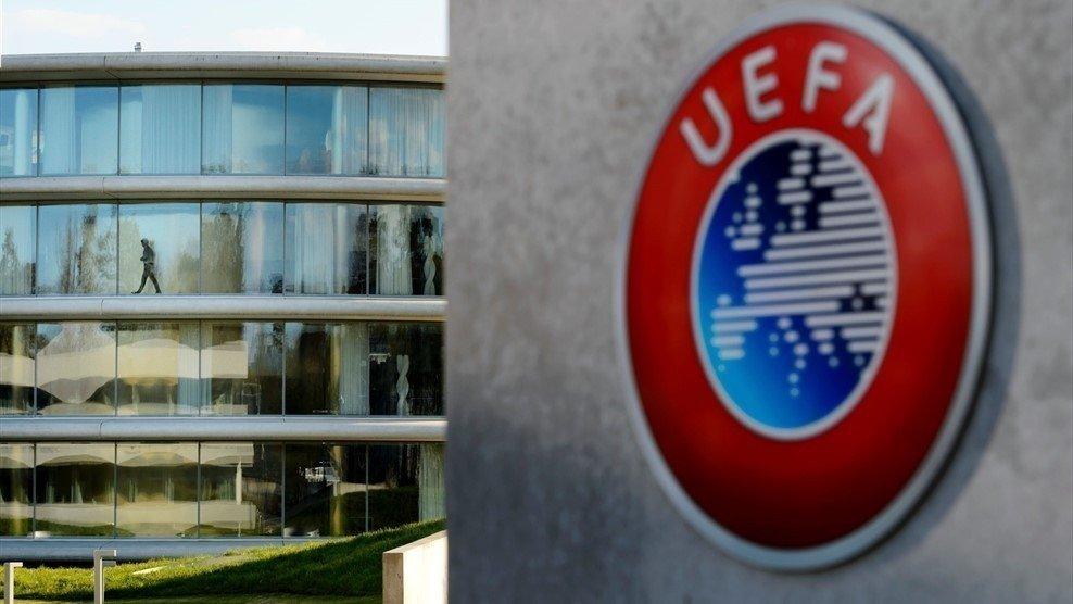 The UEFA logo on display at the UEFA headquarters in Nyon, Switzerland, Dec. 07, 2017. (IHA Photo)