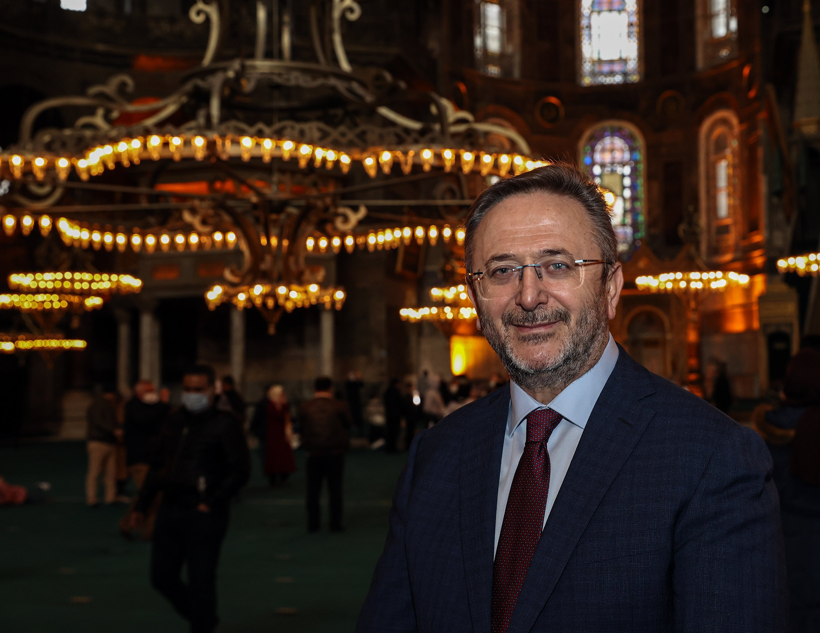 Istanbul Provincial Director of Culture and Tourism Coşkun Yılmaz is seen here inside the Hagia Sophia Grand Mosque, Istanbul, Turkey, April 18, 2021. (AA Photo)