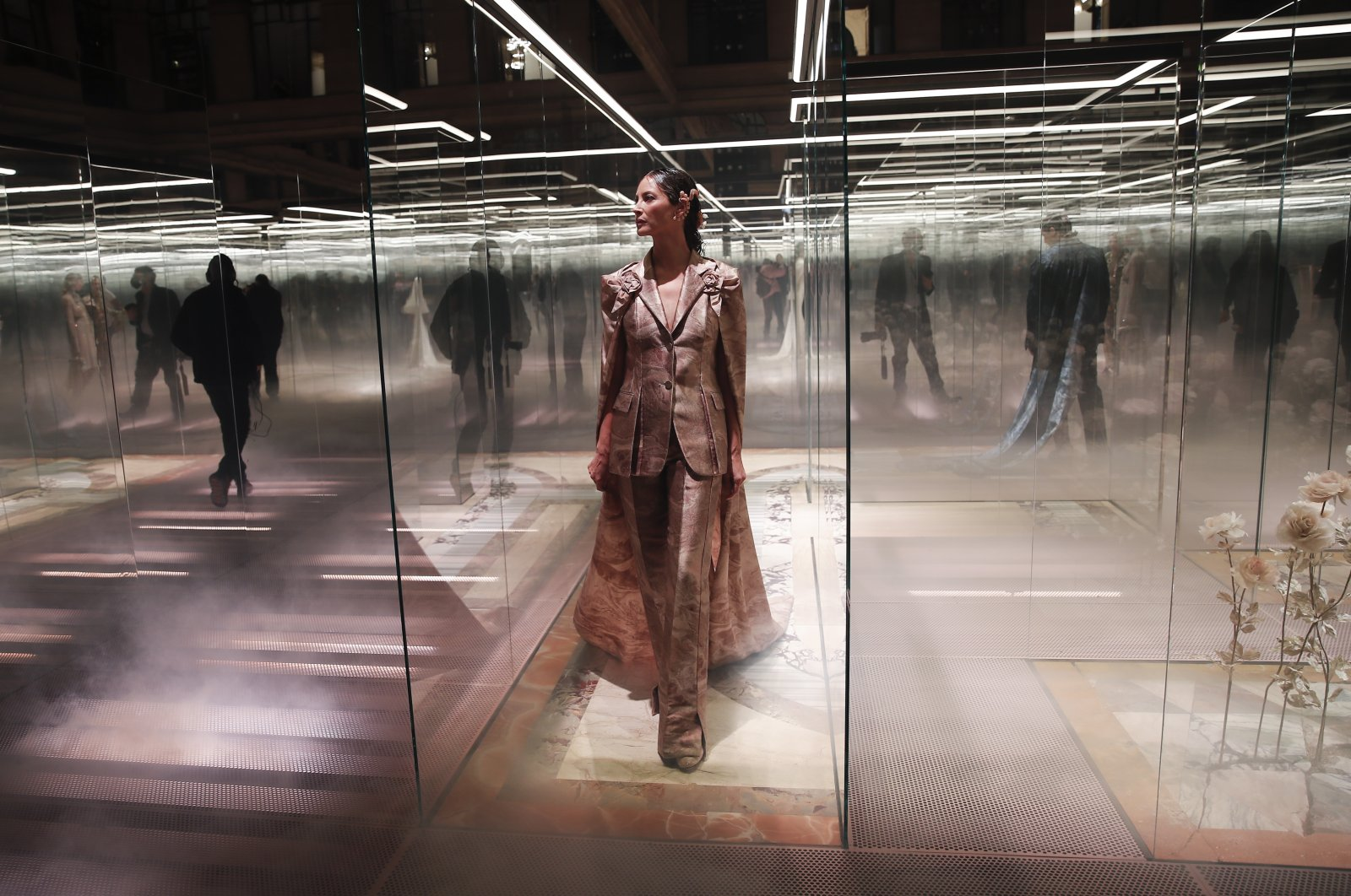 A model wears a creation for Fendi's Spring-Summer 2021 Haute Couture fashion collection presented in Paris, France, Jan. 27, 2021. (AP Photo)