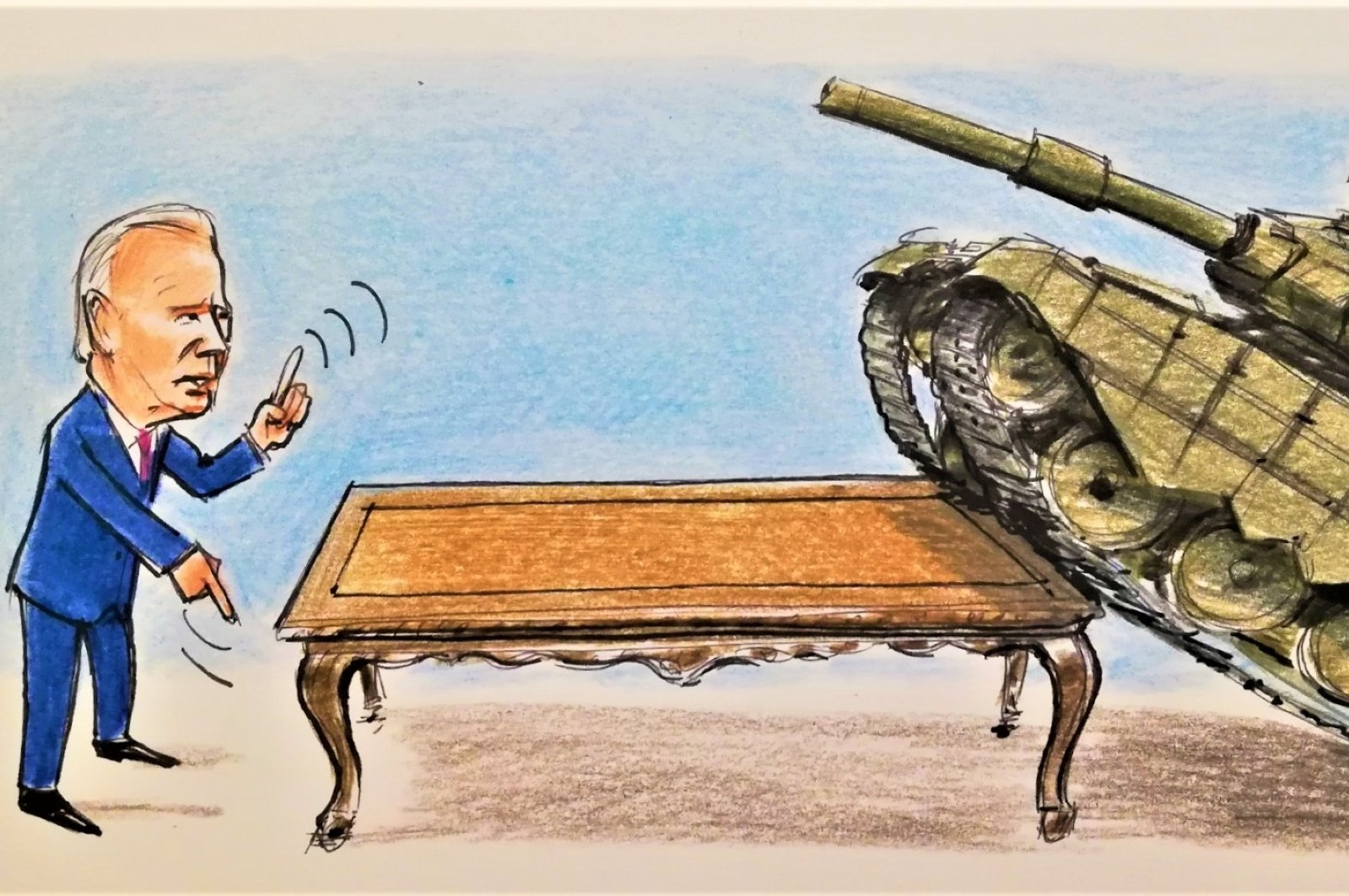 This Illustration by Erhan Yalvaç criticizes Washington and Moscow for escalating the tension over Ukraine.