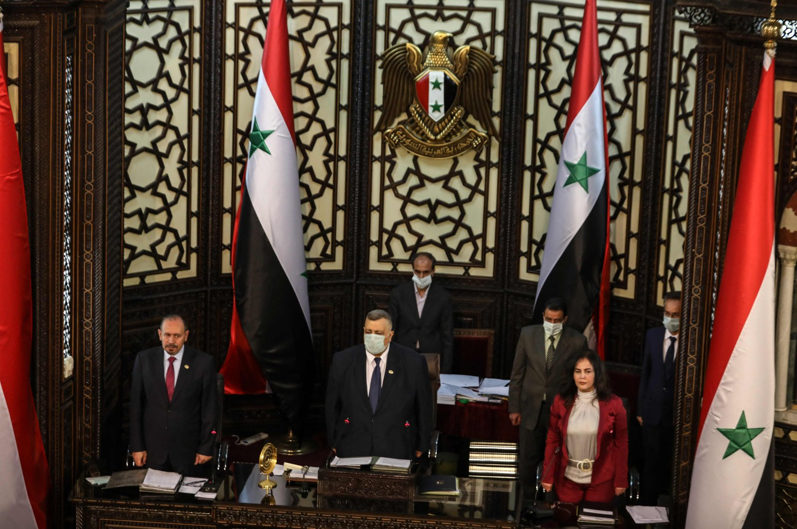Hammouda Al-Sabbagh (C) presides over a session to discuss upcoming presidential elections, in the capital Damascus, Syria, April 18, 2021. (AFP Photo)
