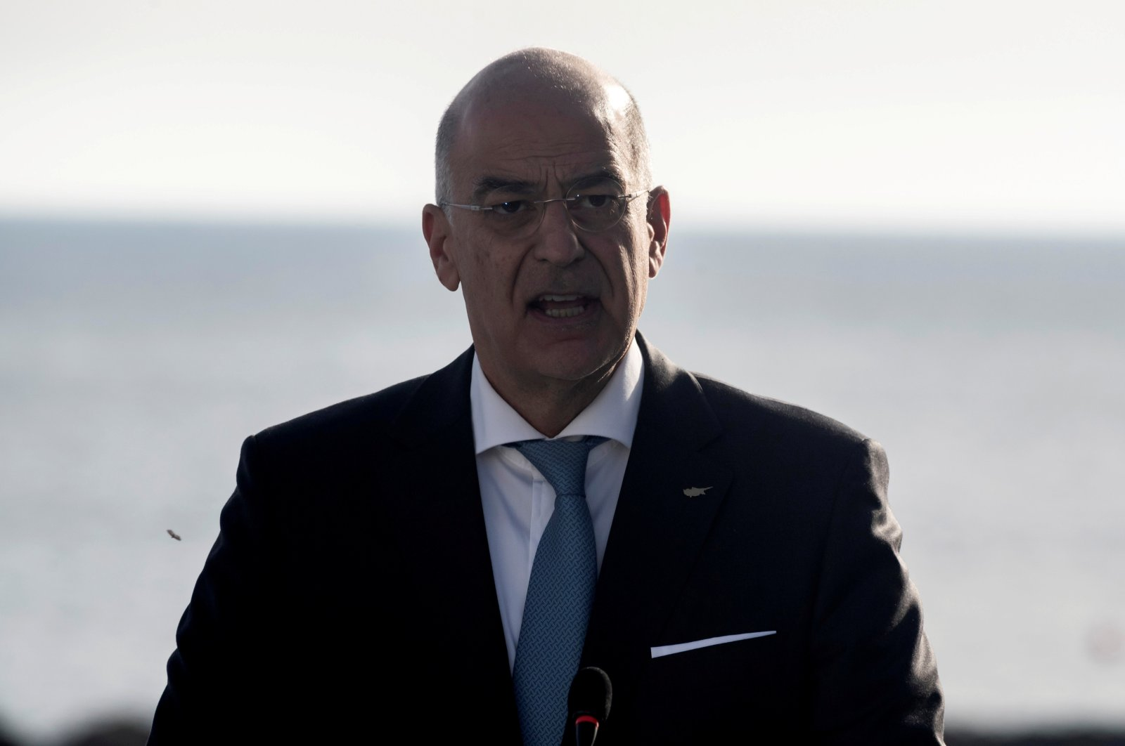 Greek Foreign Minister Nikos Dendias speaks during a news conference in Paphos, Greek Cyprus, April 16, 2021. (REUTERS Photo)