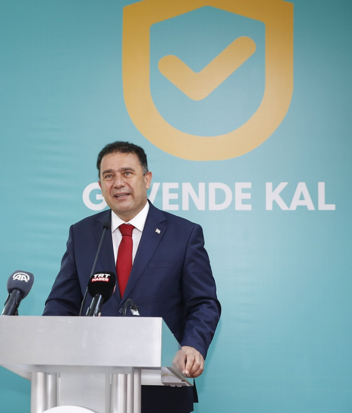 TRNC Prime Minister Ersan Saner speaks at the COVID-19 quarantine tracing system event in Lefkoşa, TRNC, April 12, 2021. (AA Photo)