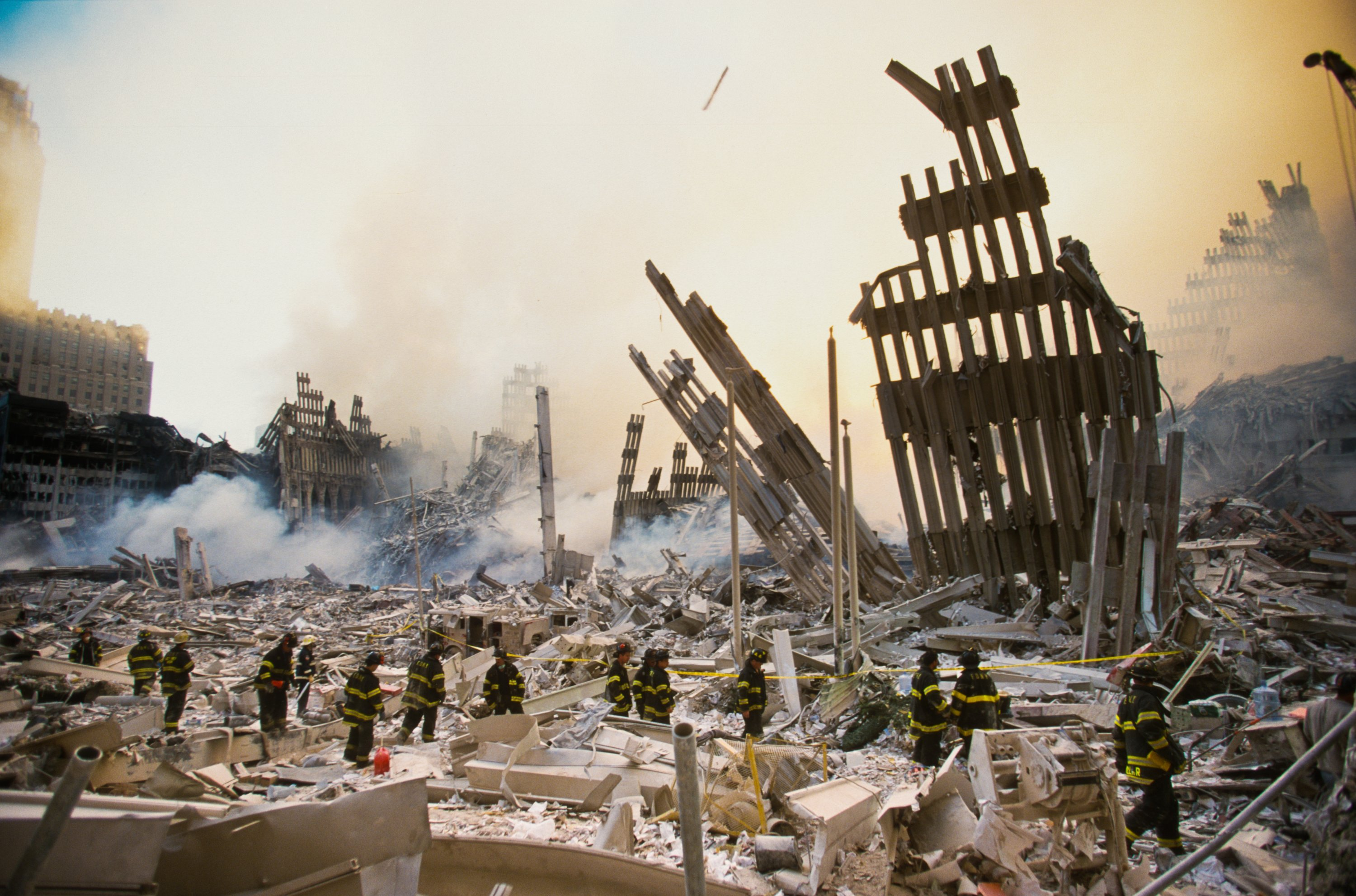 The rubble of the World Trade Center smoulders following a terrorist attack, in New York, U.S. Sept. 11, 2001. (Photo by Getty Images)