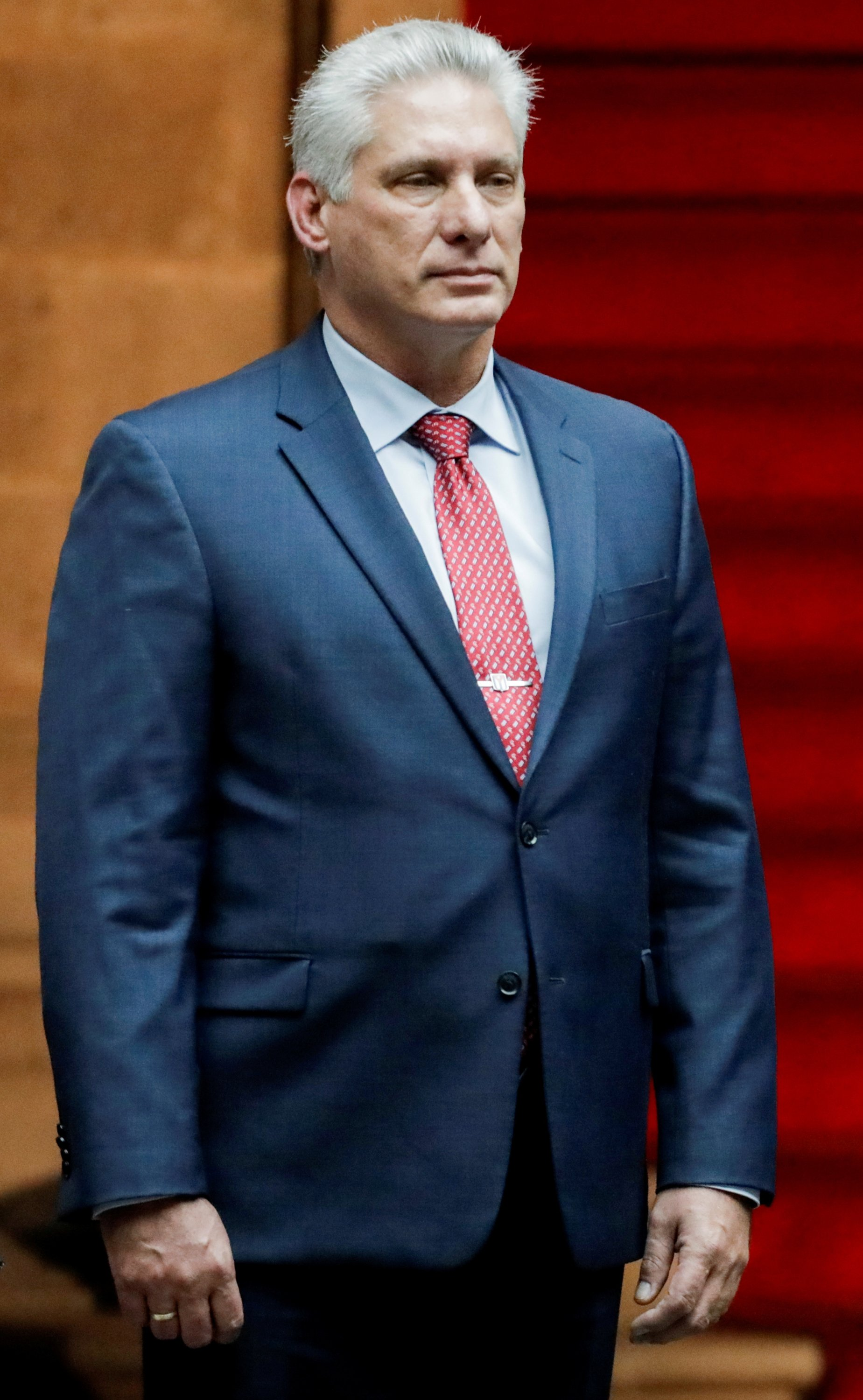 Cuba's President Miguel Diaz-Canel attends an official welcoming ceremony held by Mexico's President Andres Manuel Lopez Obrador, at National Palace in Mexico City, Mexico, Oct. 17, 2019. (Reuters Photo)