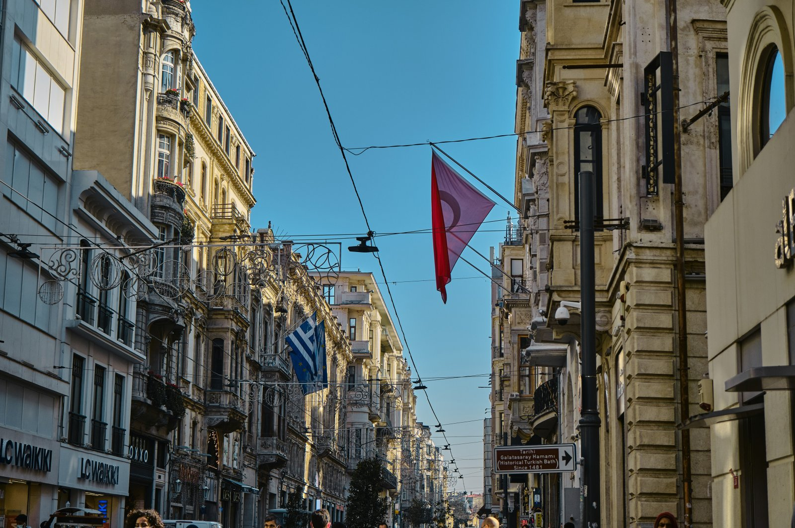 Turkish and Greek flags hang from the Greek consulate general on Istiklal Avenue, Beyoğlu, Istanbul, Turkey, March 4, 2021. (Photo by Shutterstock)