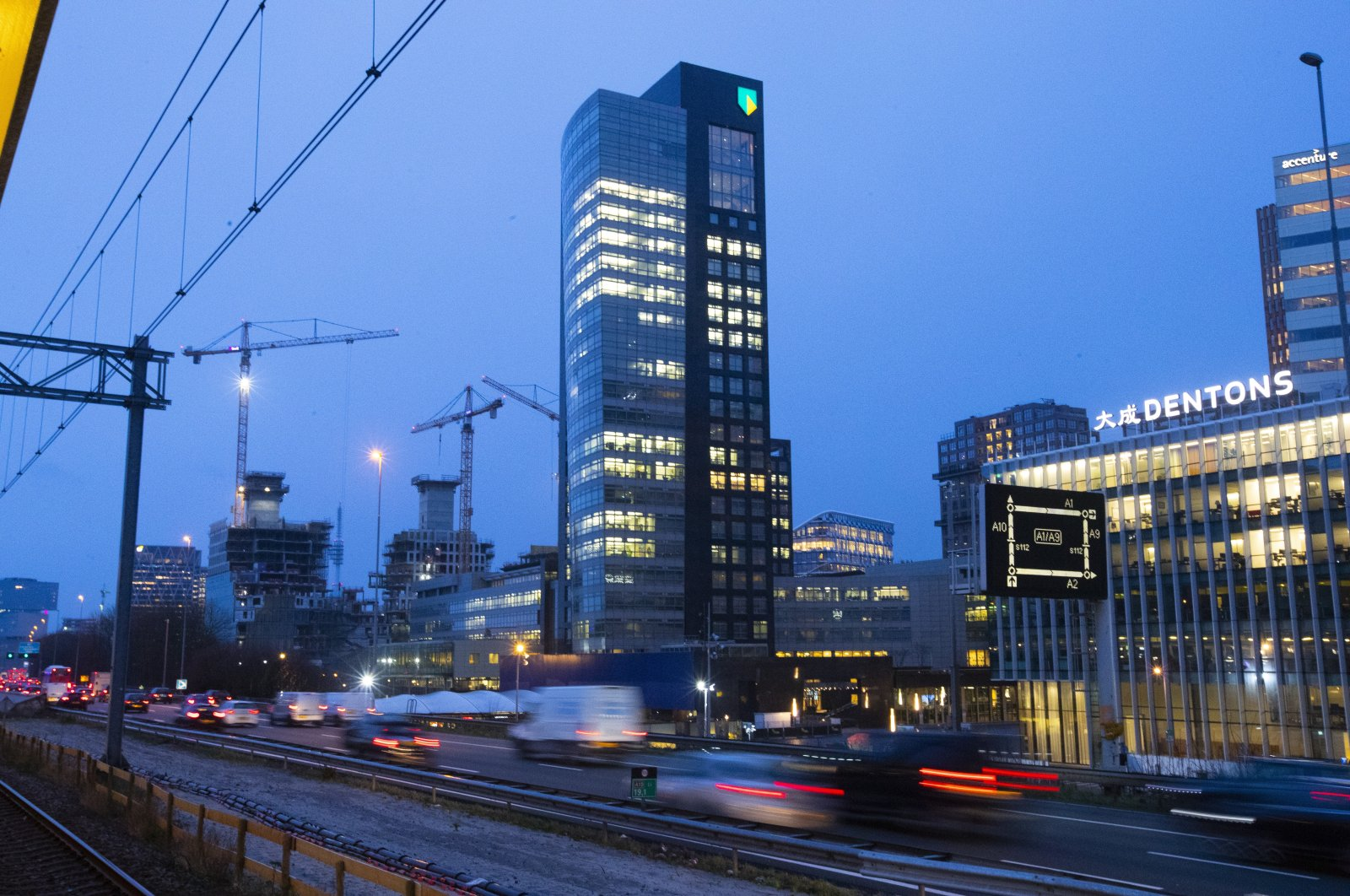 The ABN AMRO head office is seen in the capital's business district, in Amsterdam, the Netherlands, March 2, 2020. (AP Photo)
