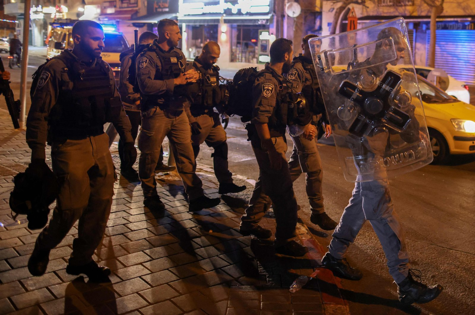 Israeli security forces deployed in the streets in Jaffa, near Tel Aviv, Israel, April 18, 2021. (AFP Photo)