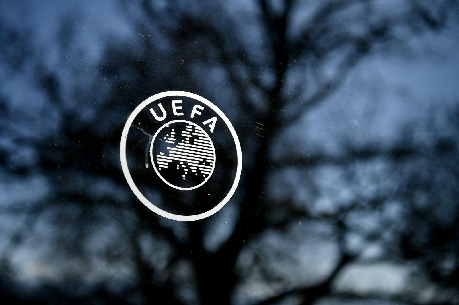 The UEFA logo at the organization's headquarters in Nyon, Switzerland, Feb. 28, 2020.