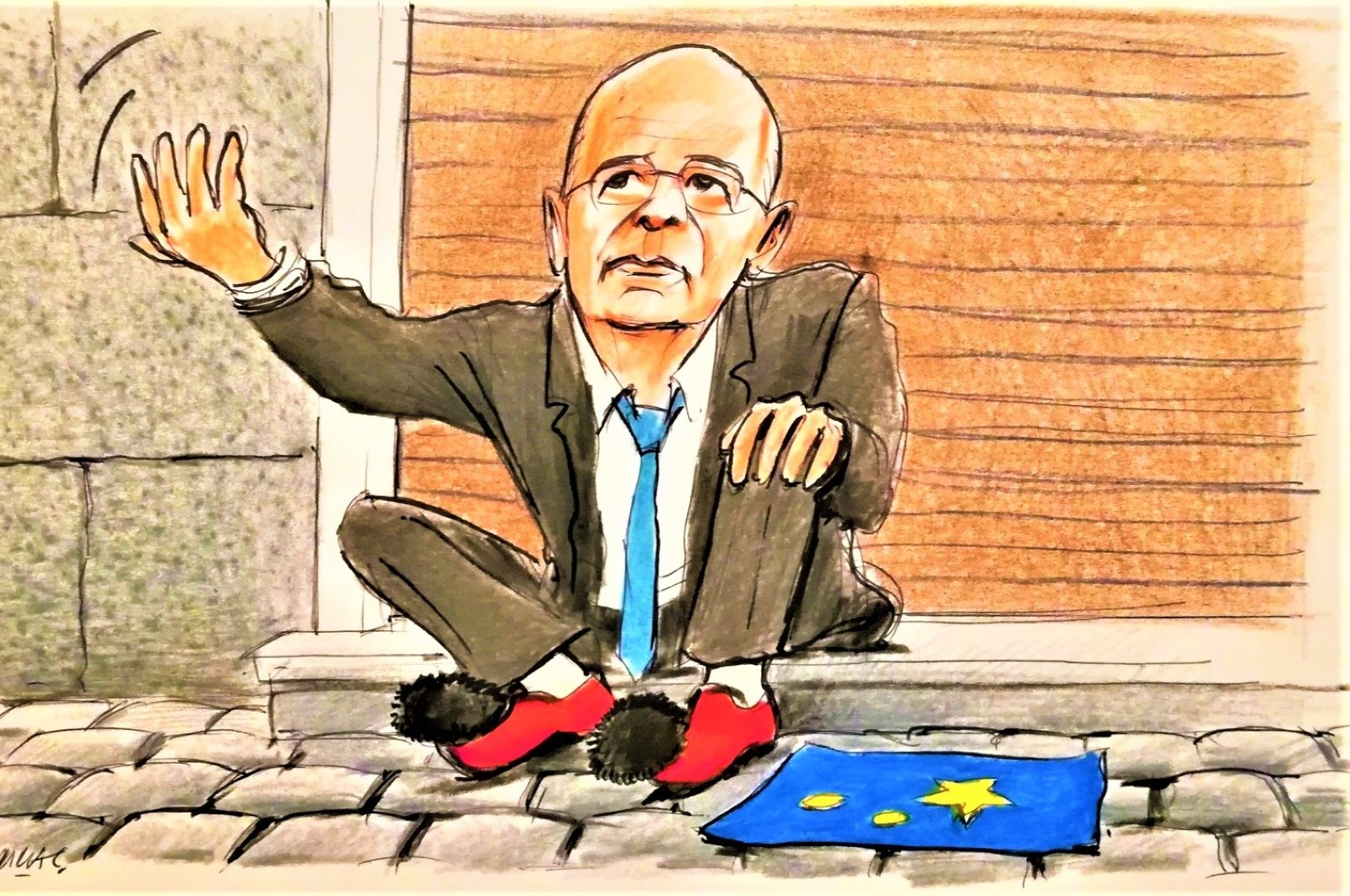 This illustration by Erhan Yalvaç satirically depicts Greek Foreign Minister Nikos Dendias begging for help besides a European Union flag after the Greek minister controversially threatened Turkey with possible EU sanctions despite there being no such implication from Brussels.