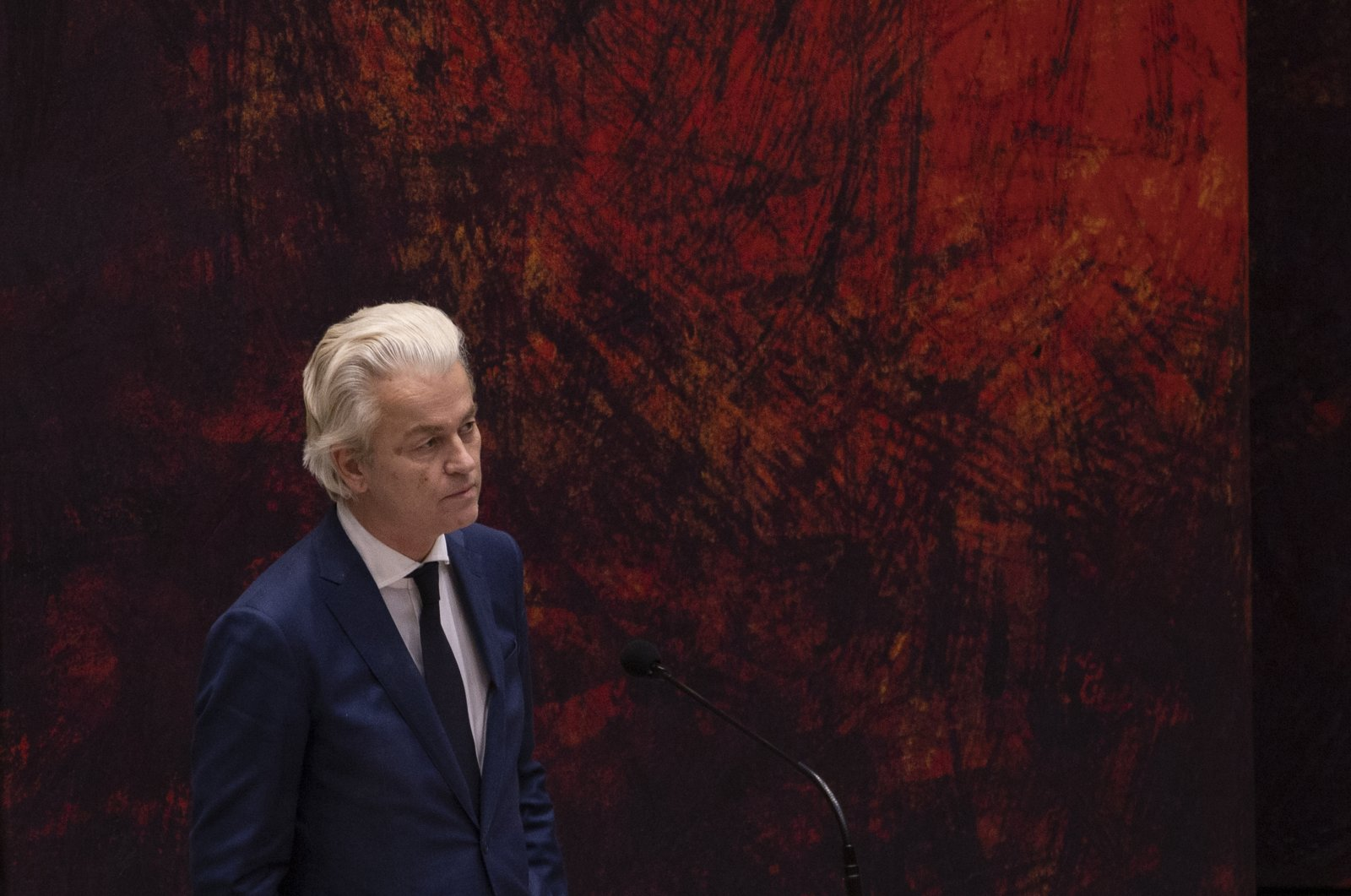 Far-right Dutch lawmaker Geert Wilders reacts during a debate in parliament in The Hague, Netherlands, April 2, 2021. (AP Photo)