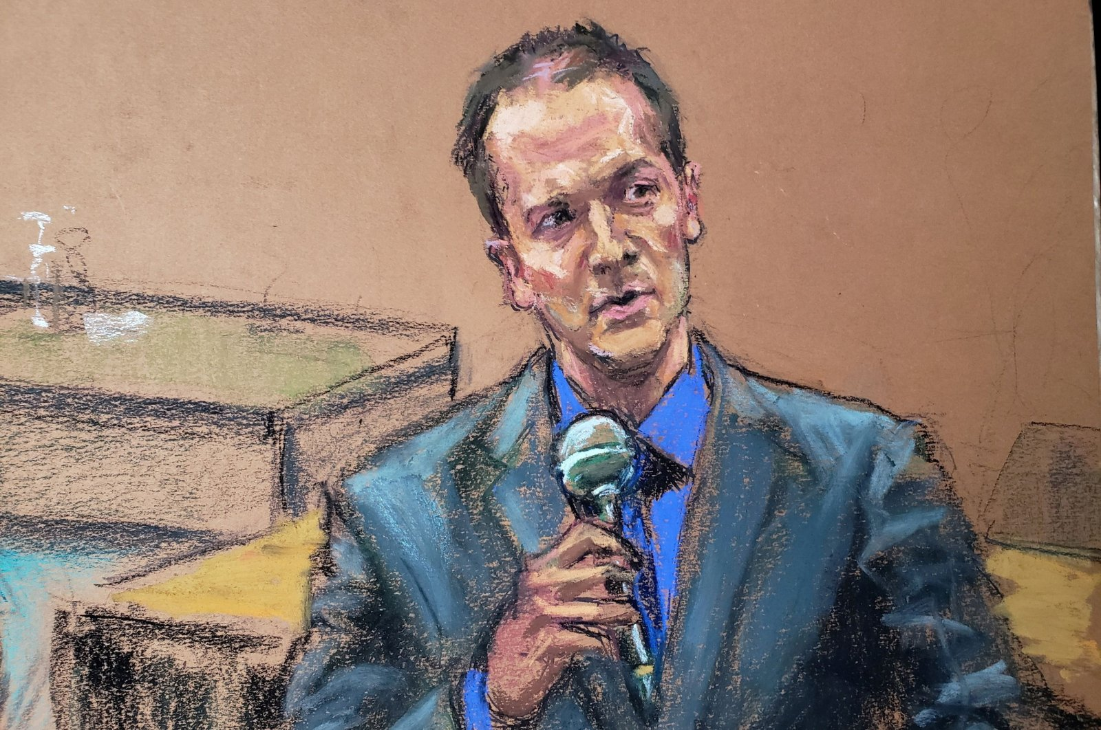 In this courtroom sketch, former Minneapolis police officer Derek Chauvin tells the judge that he waived his right to testify to the jury on the 14th day of Chauvin's trial for second-degree murder, third-degree murder and second-degree manslaughter in the death of George Floyd in Minneapolis, Minnesota, U.S., April 15, 2021. (Reuters Photo)
