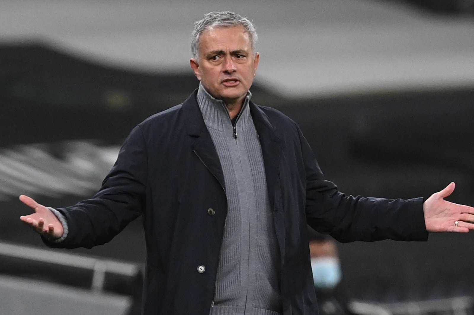 Tottenham manager Jose Mourinho reacts during the UEFA Europa League round of 16, first leg match against Dinamo Zagreb, London, Britain, March 11, 2021 (EPA Photo)