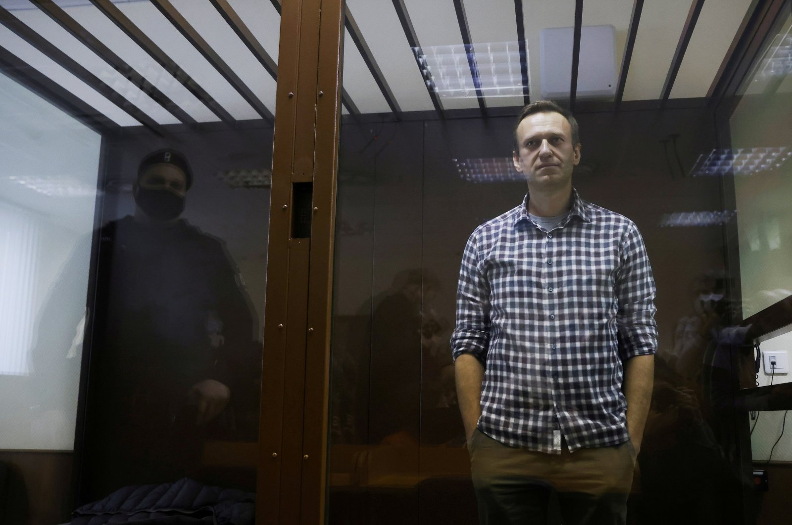 Russian opposition leader Alexei Navalny attends a hearing to consider an appeal against an earlier court decision to change his suspended sentence to a real prison term, in Moscow, Russia, Feb. 20, 2021. (Reuters Photo)