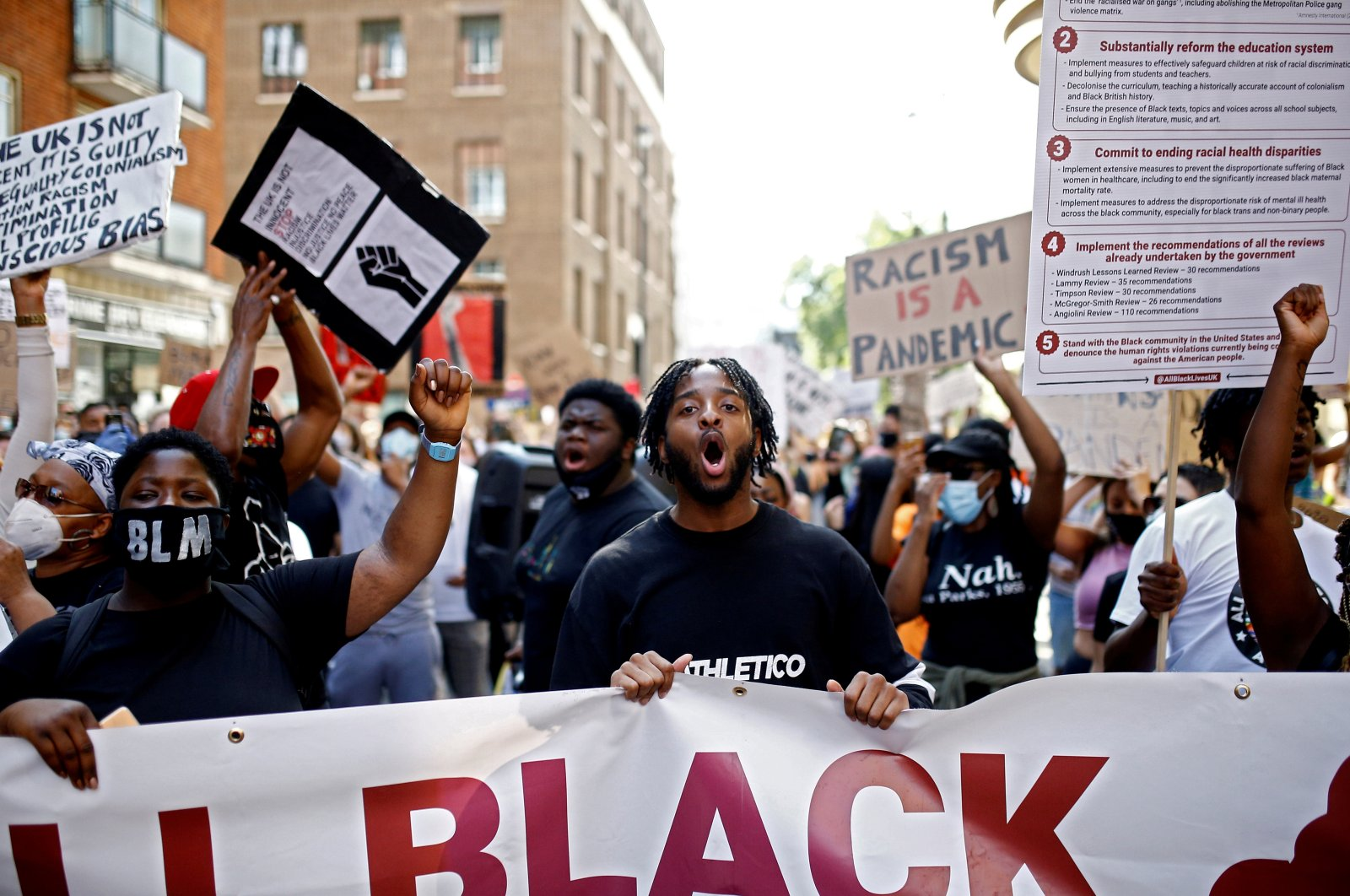 Demonstrators take part in a Black Lives Matter protest in London, Britain, July 12, 2020. (Reuters Photo)