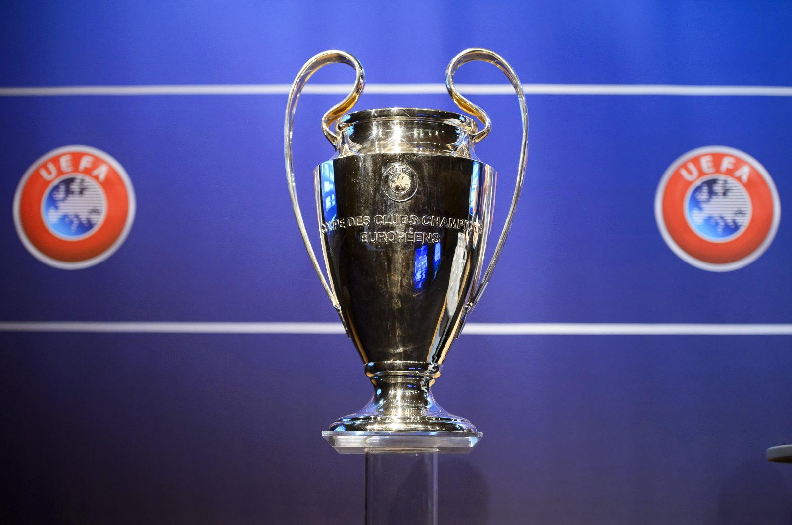 The Champions League trophy on display at the UEFA Headquarters in Nyon, Switzerland, June 23, 2014. (EPA Photo)