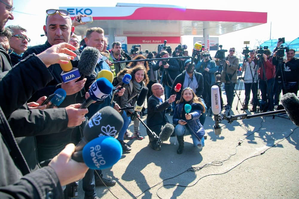 Journalists, television crews and photojournalists from all over the world gather at the Greek-Turkish border to cover the refugee crisis, Kastanies, Evros, Greece, March 1, 2020. (Shutterstock Photo)