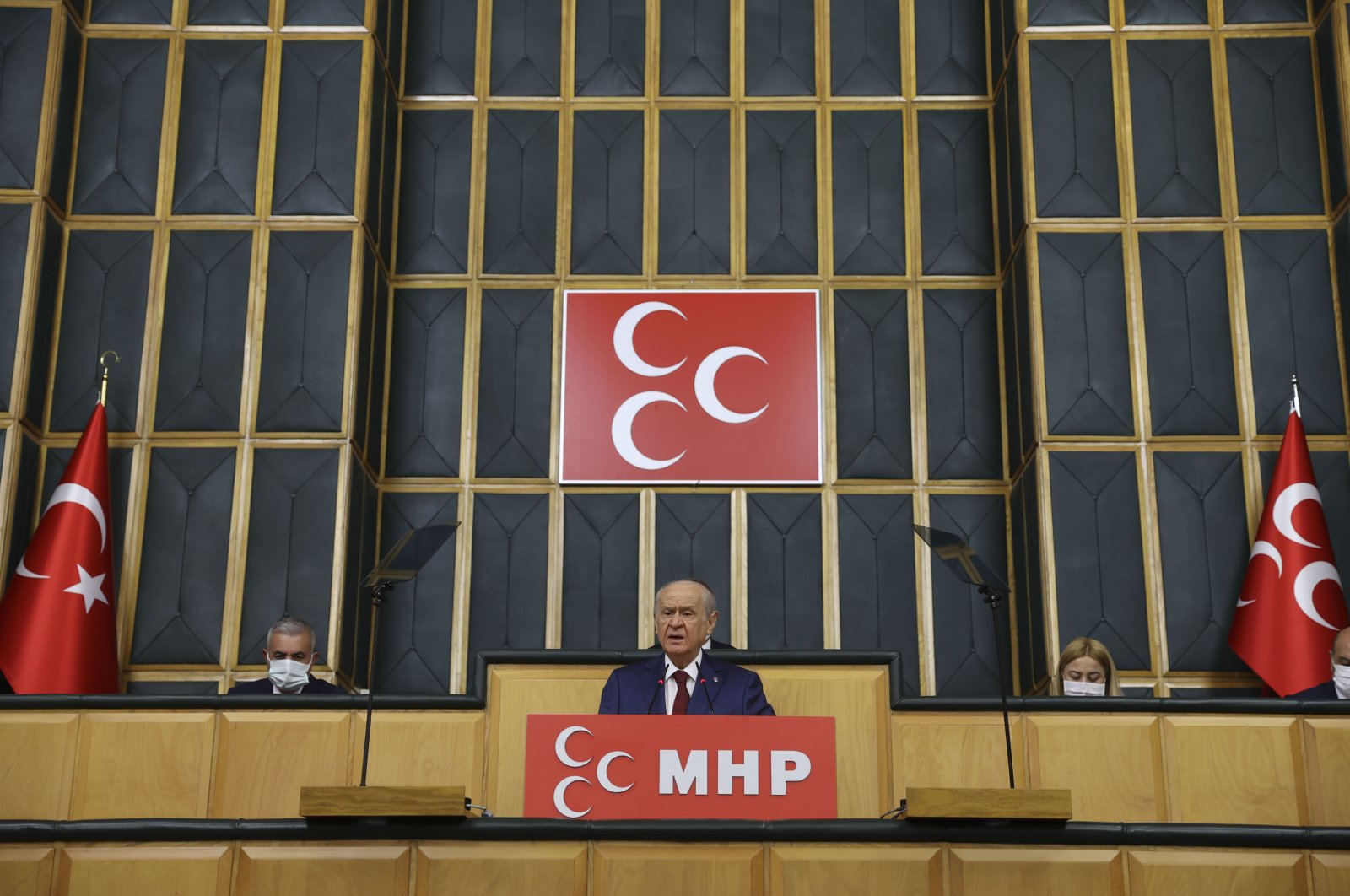 MHP Chairperson Devlet Bahçeli speaks at his party's parliamentary group meeting in Ankara, Turkey, April 20, 2021. (AA Photo)