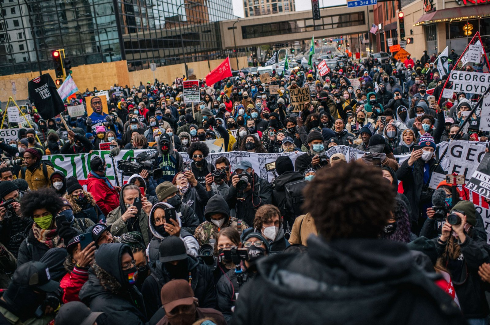 Local organizer Brandyn Tulloch speaks to the crowd during a demonstration in Minneapolis, Minnesota, U.S., April 19, 2021  (Brandon Bell/Getty Images/AFP)