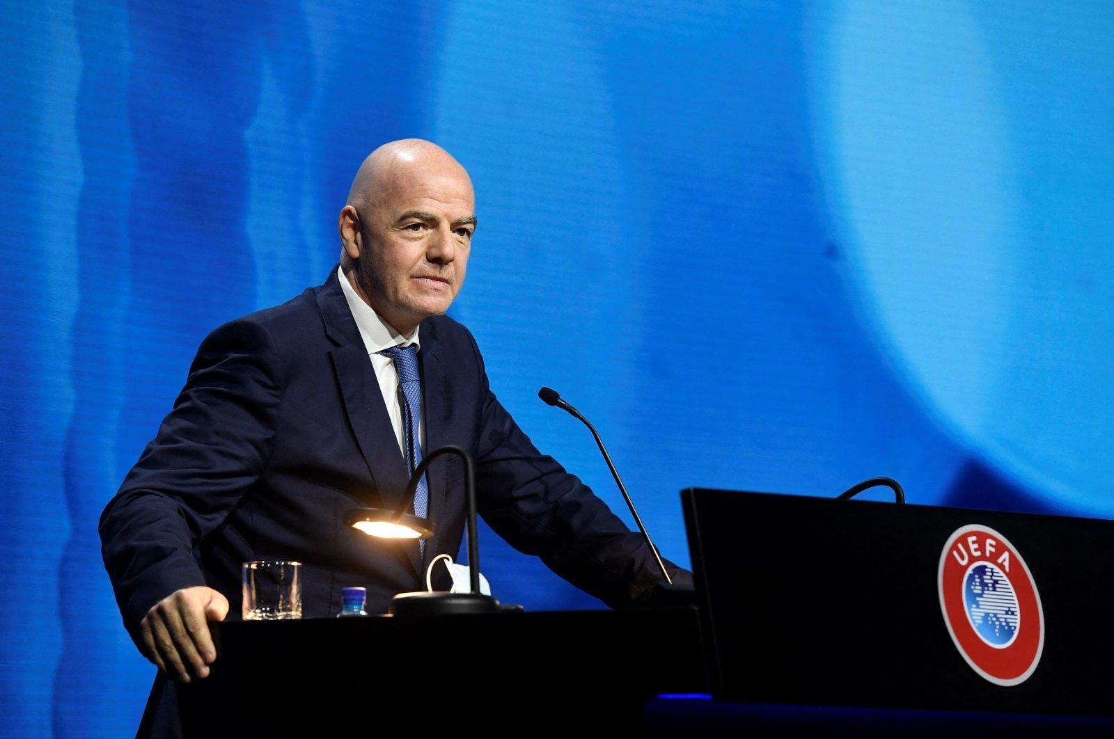 FIFA President Gianni Infantino addresses the UEFA Congress in Montreux, Switzerland, April 20, 2021. (UEFA/AFP Photo)