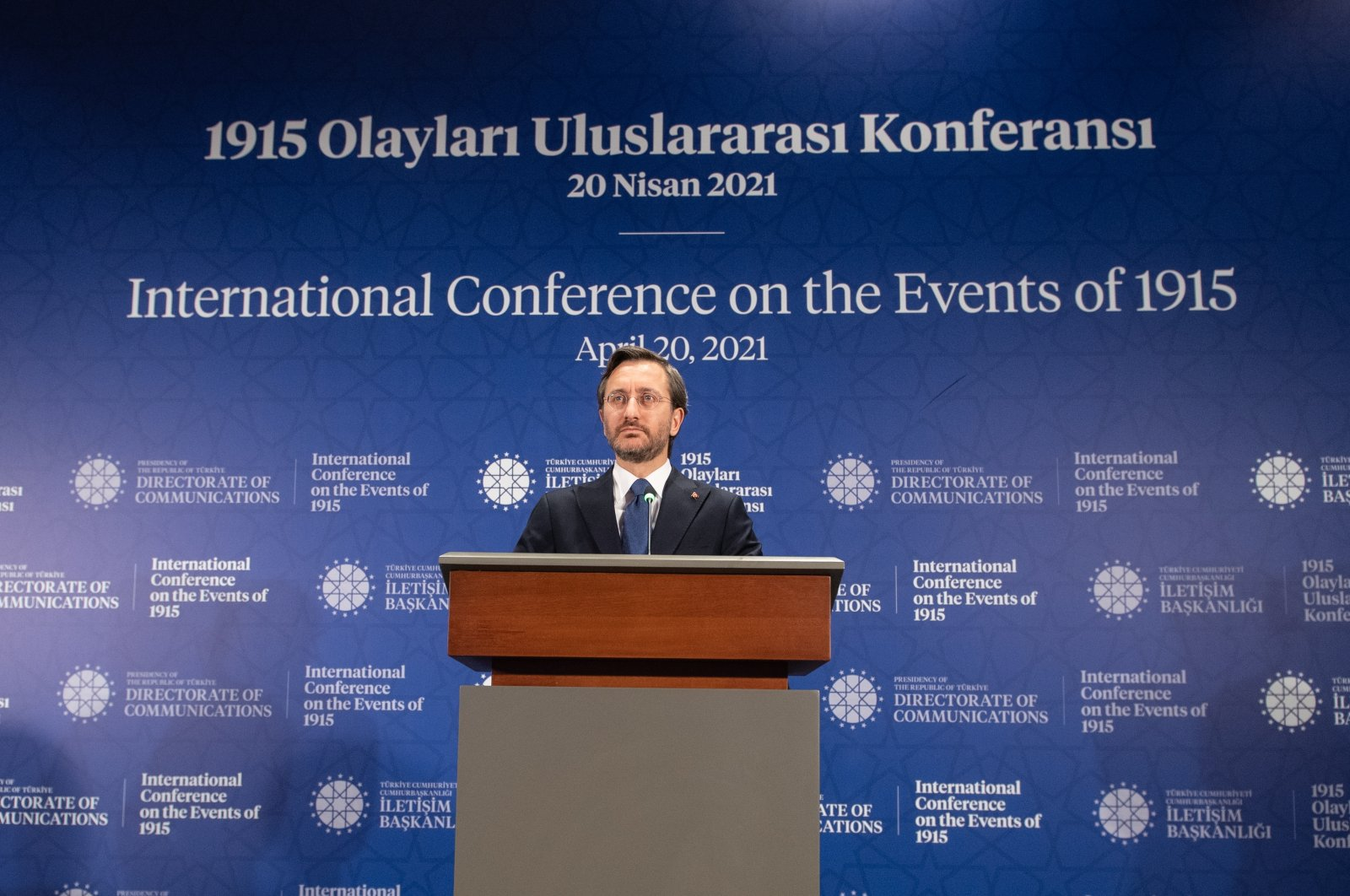 Turkey's Presidential Communications Director Fahrettin Altun speaks at the International Conference on the Events of 1915, in the capital Ankara, Turkey, April 20, 2021. (AA Photo)