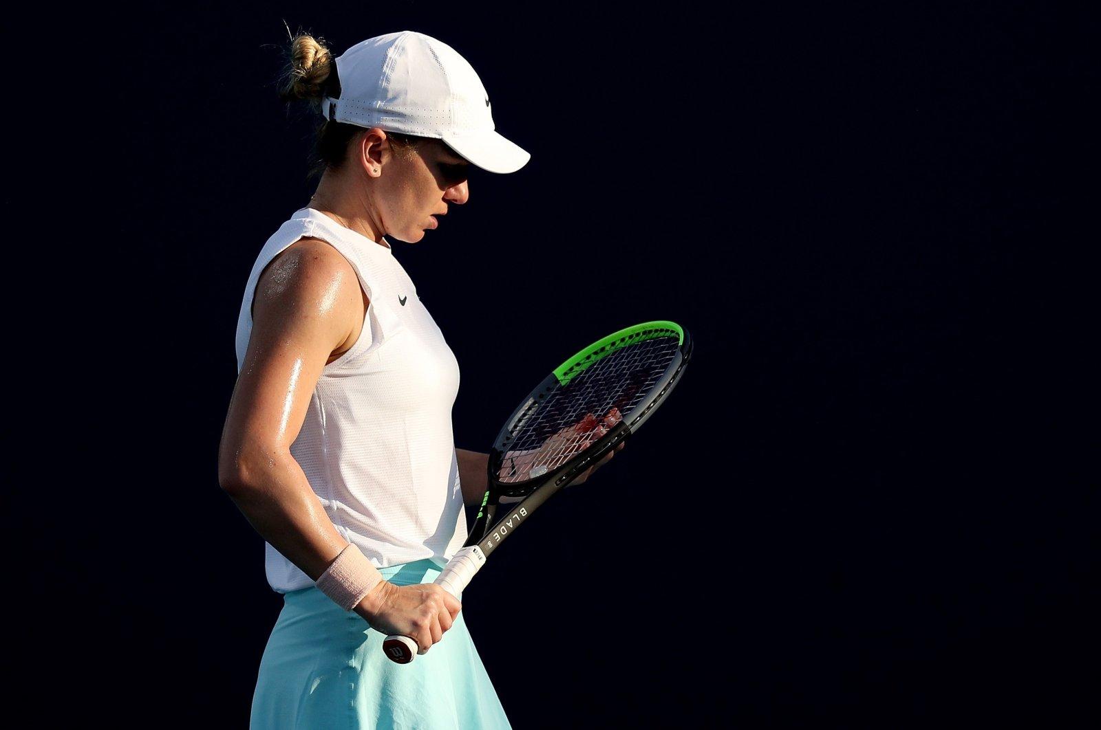 Romania's Simona Halep of Romania during a Miami Open match against France's Caroline Garcia, Miami, Florida, U.S. March 25, 2021. (AFP Photo)